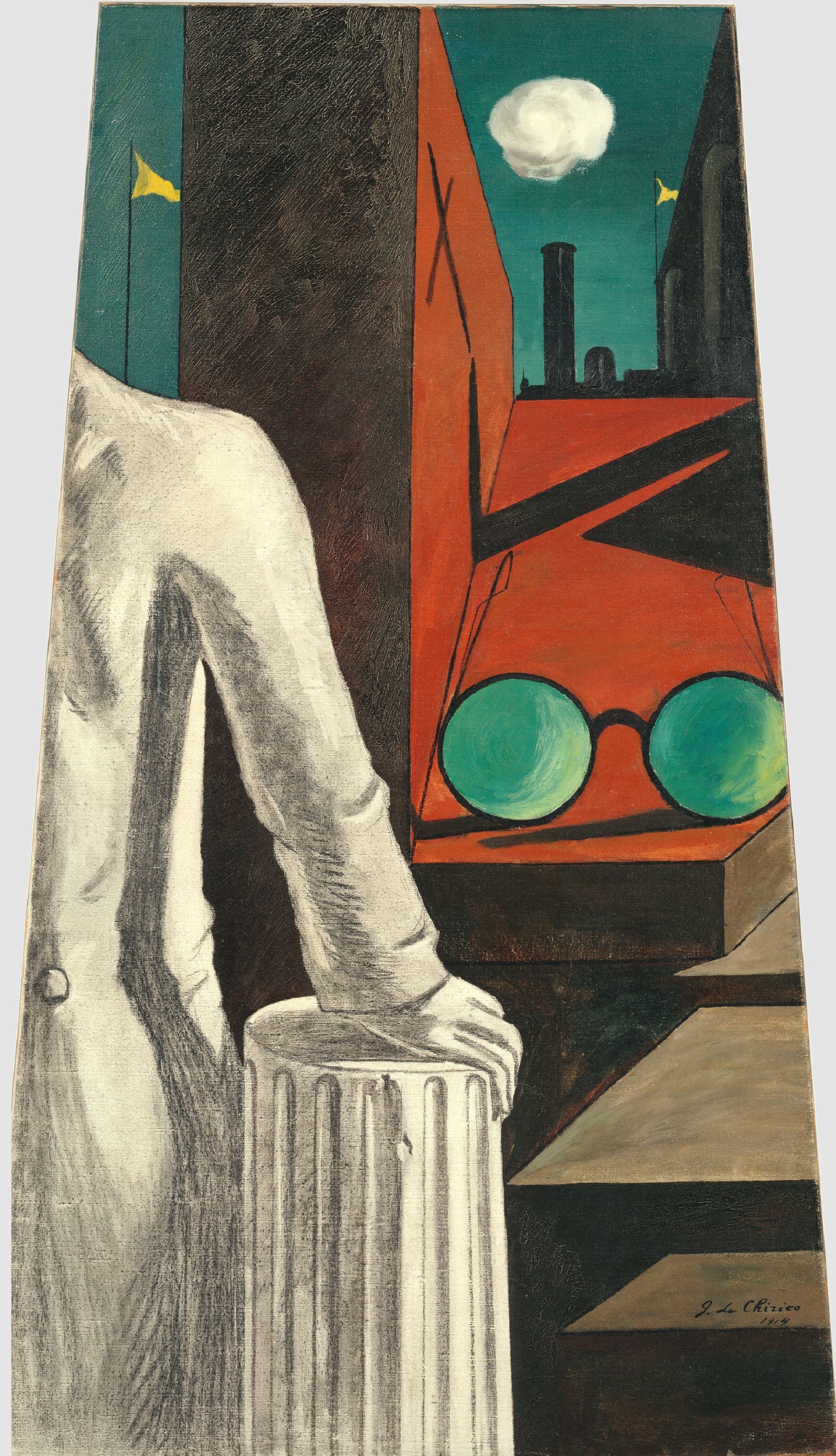 Giorgio de Chirico Die Heiterkeit des Gelehrten * La Sérénité du savant, April 1914 Öl und Kohle auf Leinwand, 130,1 × 72,4 cm The Museum of Modern Art, New York Digital image, The Museum of Modern Art, New York / Scala, Florence