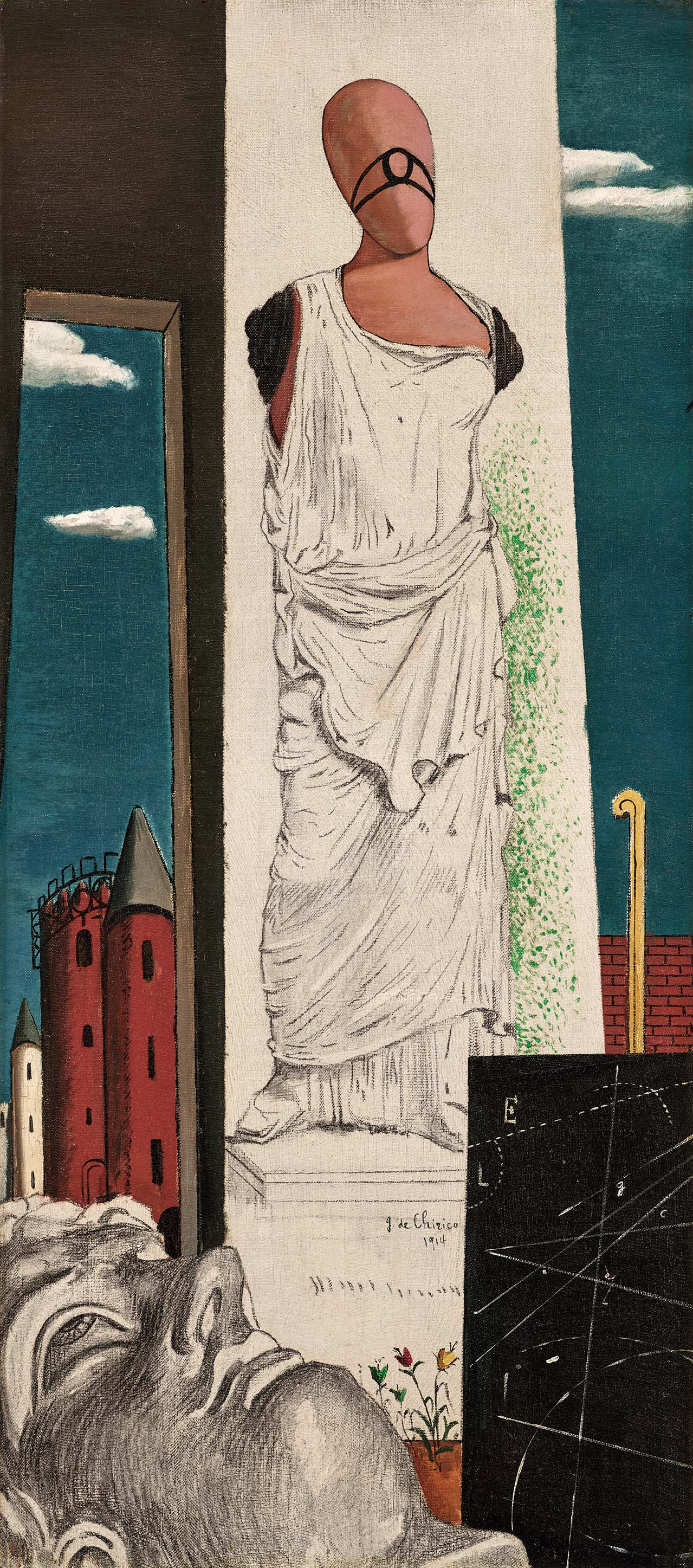 Giorgio de Chirico, Die Reise ohne Ende Le Voyage sans fin The Endless Journey Juli / July 1914 Öl auf Leinwand / Oil on canvas 88 × 39 cm Hartford (CT), Wadsworth Atheneum Museum of Art, The Philip L. Goodwin Collection, Schenkung von / gift of James L.