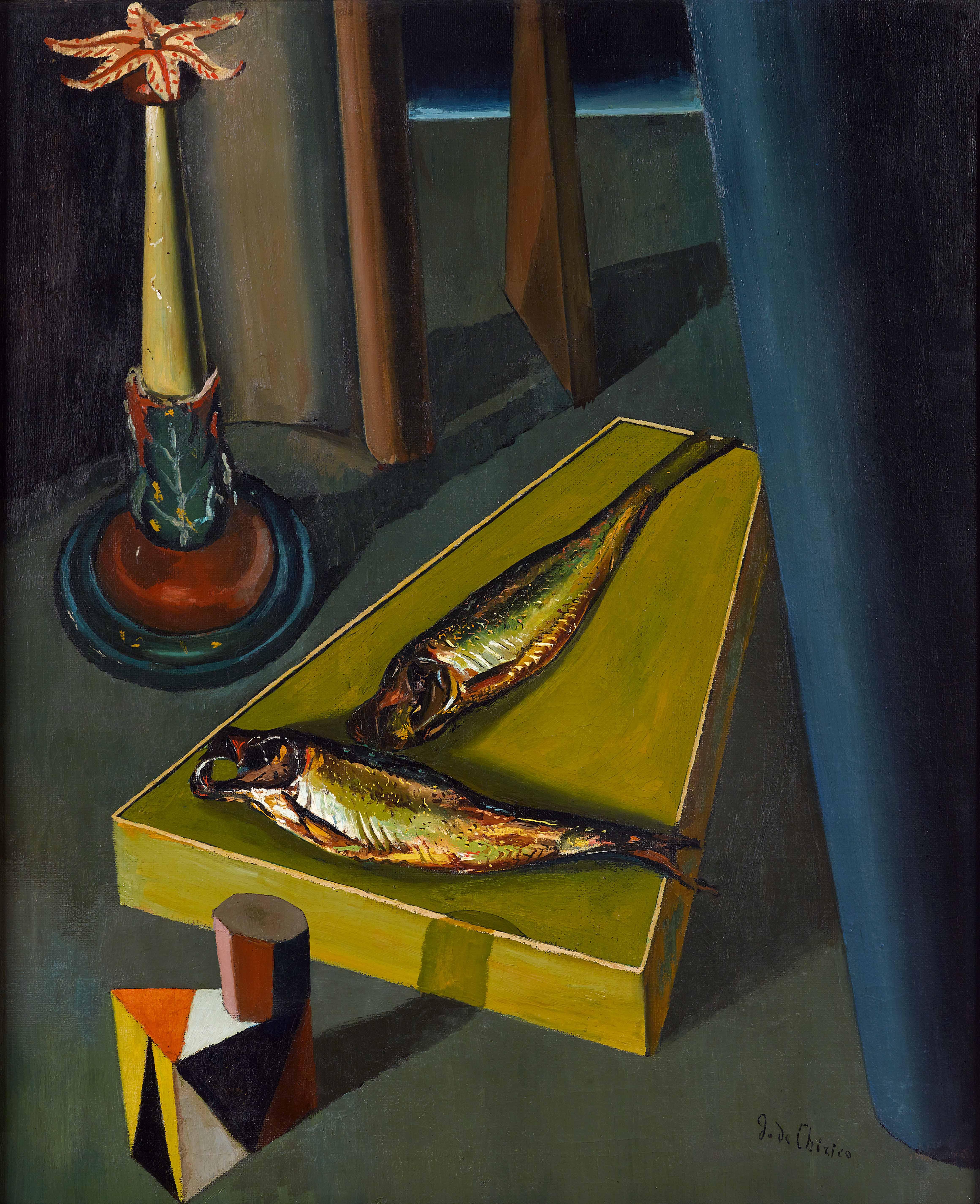 Giorgio de Chirico Die heiligen Fische * I pesci sacri, Dezember 1918 – Januar 1919 Öl auf Leinwand, 75,3 × 62 cm © VG Bild-Kunst, Bonn 2020, Etro Collection  Etro Collection / Manusardi SRL