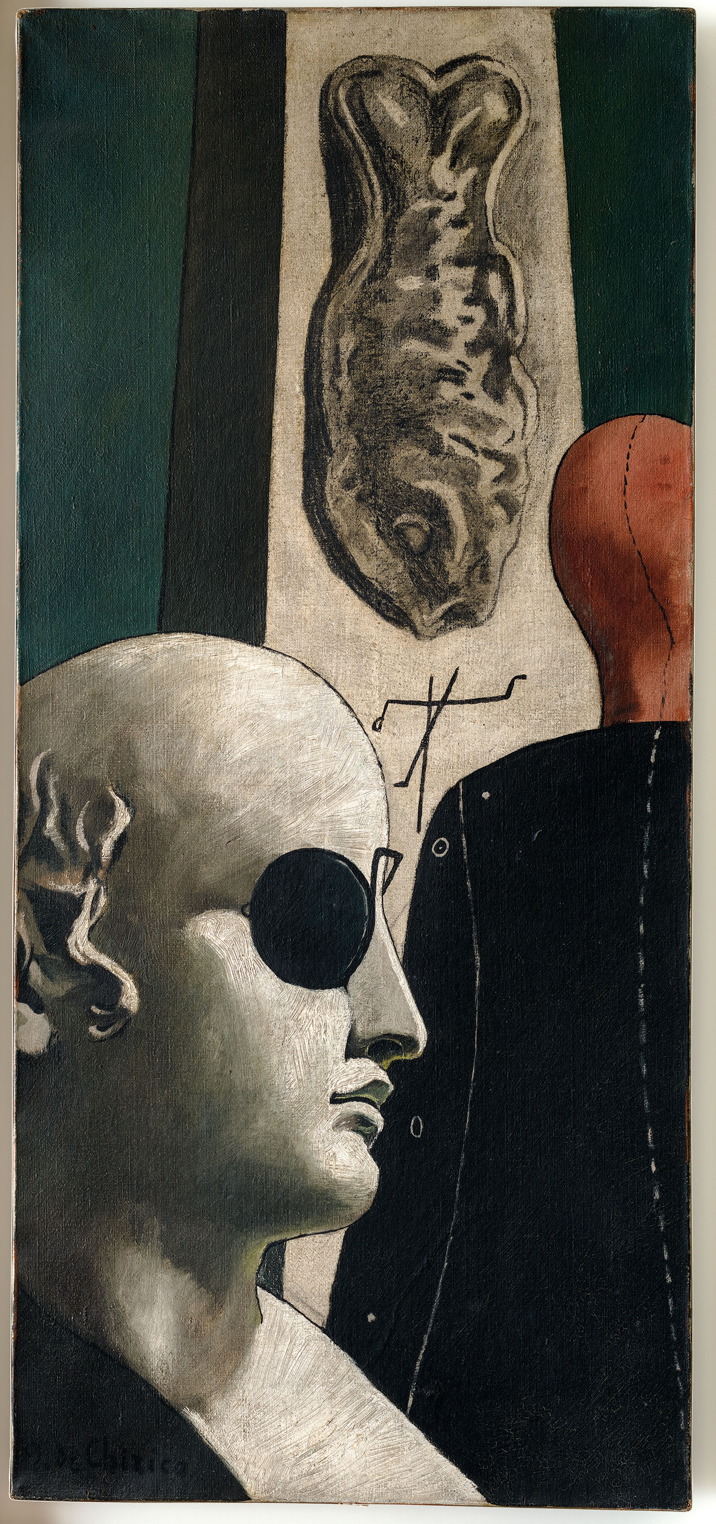 Giorgio de Chirico Die Sehnsucht des Dichters * La Nostalgie du poète, 1914 Öl und Kohle auf Leinwand,  89,7 × 40,7 cm Venedig, Peggy Guggenheim Collection, New York, Solomon R. Guggenheim Foundation