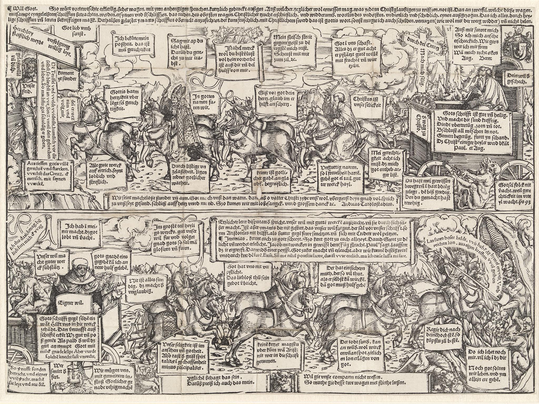 Lucas Cranach d. Ä. (1472 - 1553) Himmelwagen und Höllenwagen des Andreas Bodenstein von Karlstadt Holzschnitt, 1519 300 x 407 mm © Hamburger Kunsthalle / bpk Foto: Christoph Irrgang