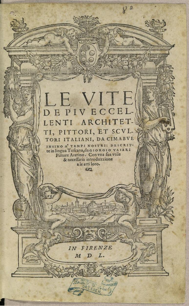 Titelblatt in verziertem architektonischen Rahmen mit allegorischen ...