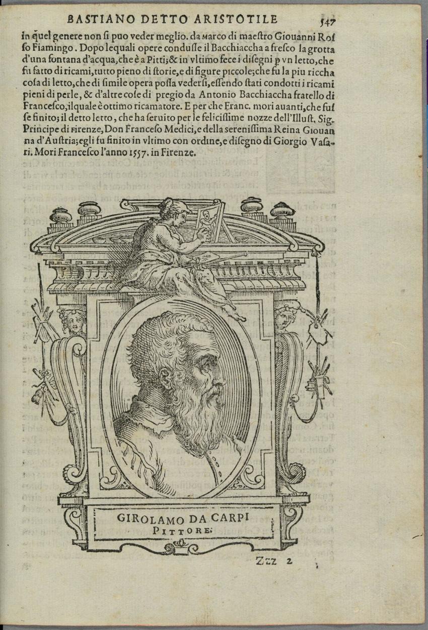 Bildnis Girolamo da Carpi in einem aufwändig gestalteten Rahmen ...