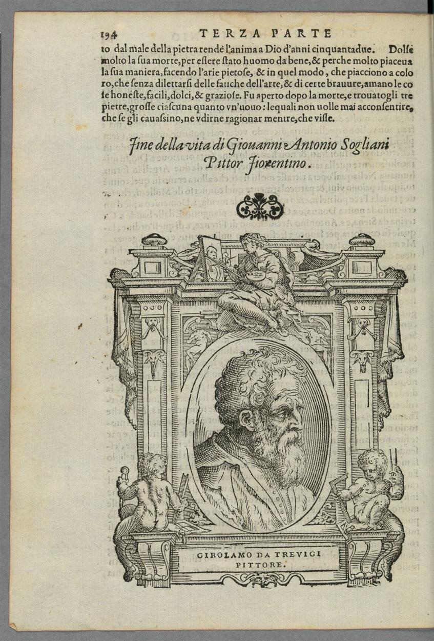 Bildnis Girolamo da Treviso in einem aufwändig gestalteten Rahmen ...