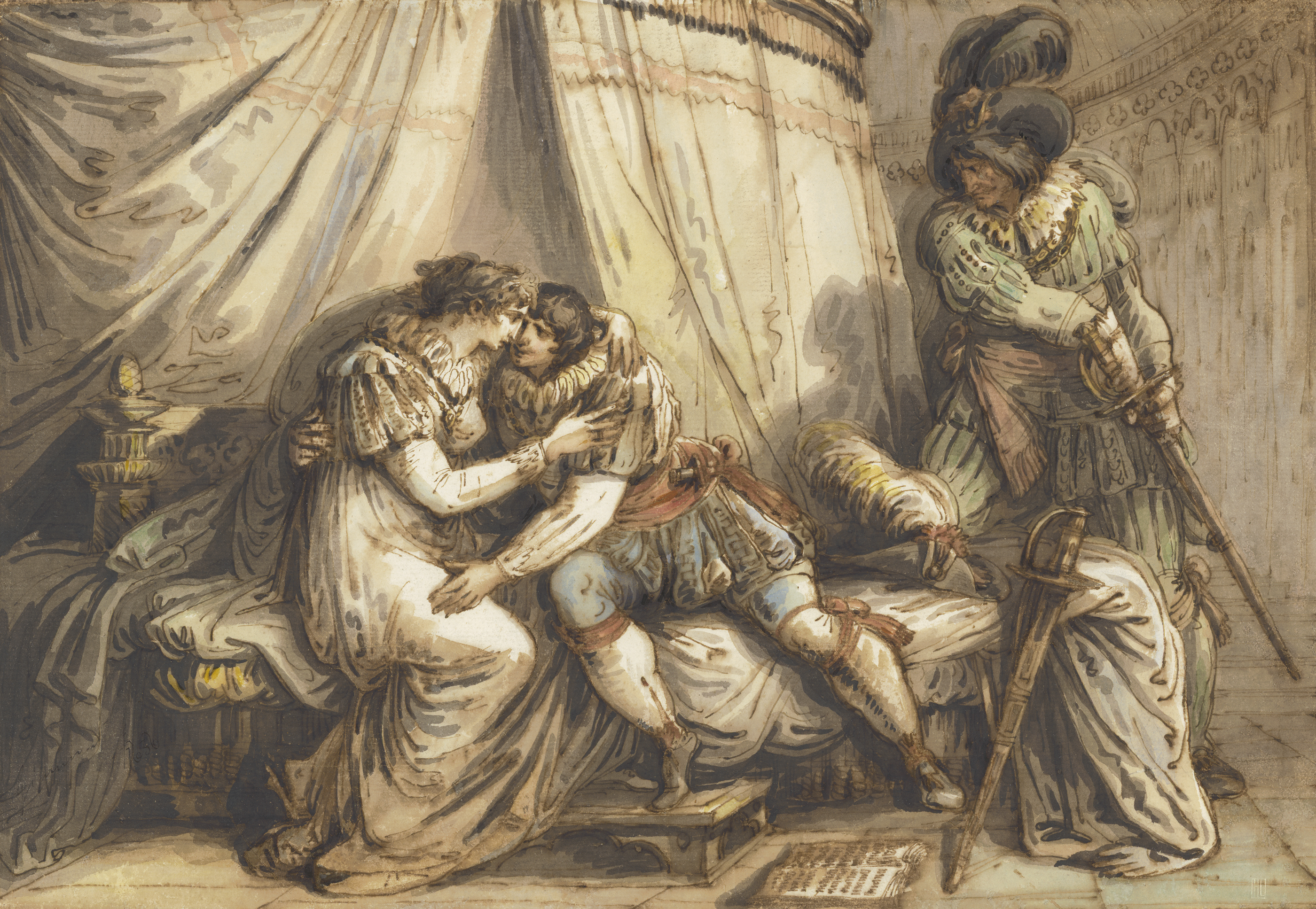 Felice Giani (1758-1823): Paolo und Francesca überrascht von Gianciotto Malatesta, 1805  © Hamburger Kunsthalle, Kupferstichkabinett
