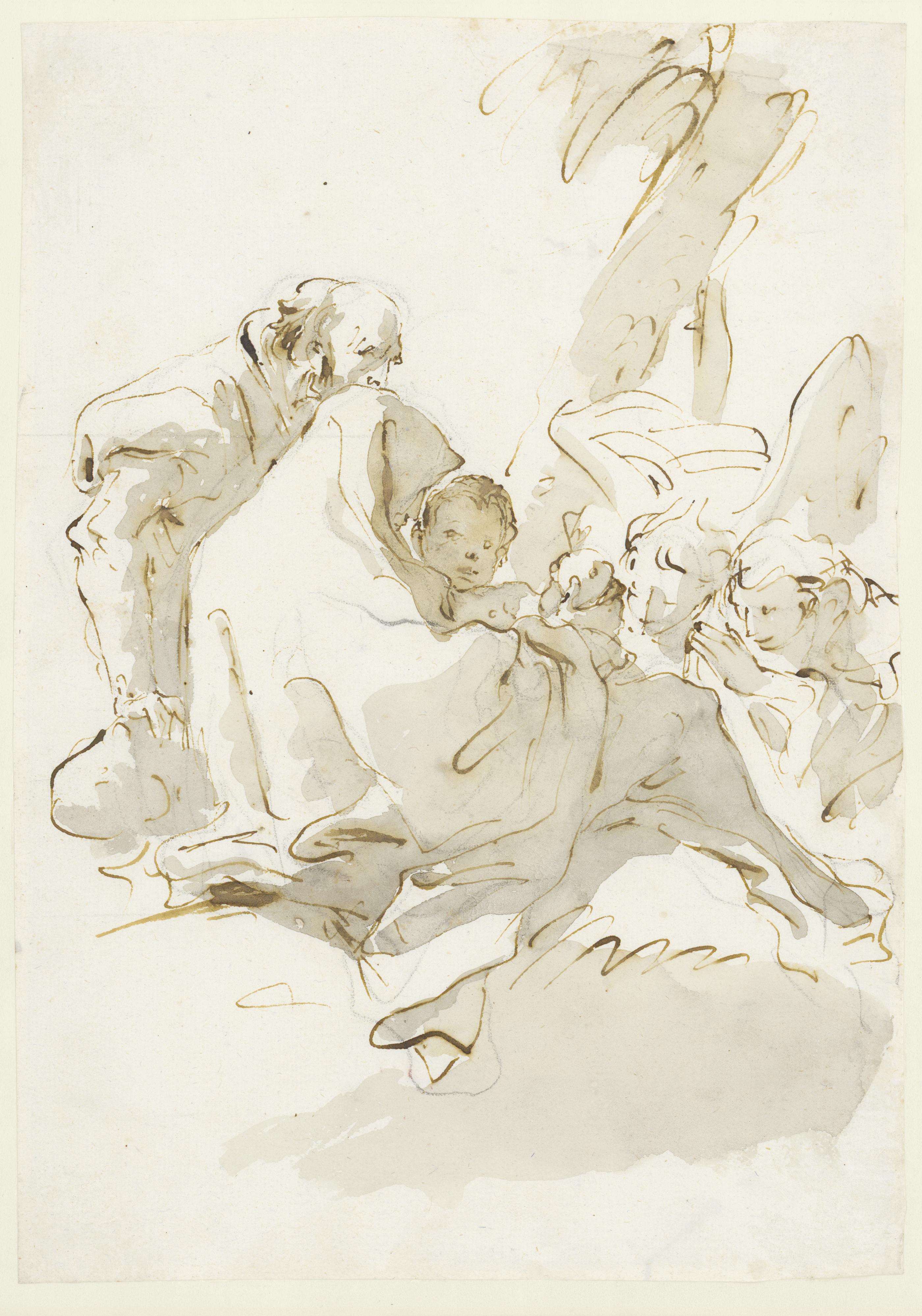 Giovanni Battista Tiepolo (1696 - 1770): Ruhe auf der Flucht nach Ägypten mit zwei Engeln, 1753 - 1762 © Hamburger Kunsthalle