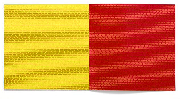 Sol LeWitt (1928–2007): Doppelseite. In: ders.: Lines & color. Zurich, Bari 1975. Hamburger Kunsthalle, Bibliothek © Hamburger Kunsthalle, Foto: C. Irrgang, Hamburg