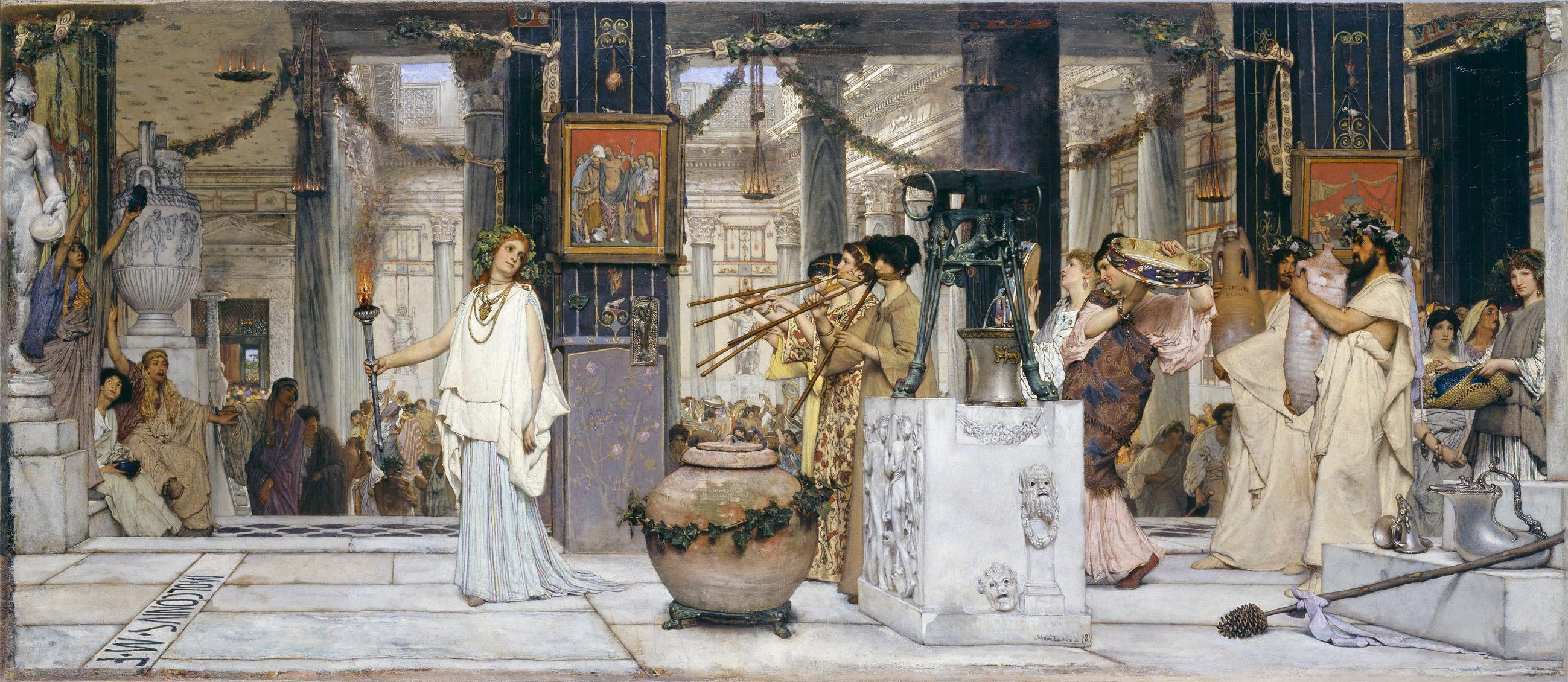 Lawrence Alma-Tadema (1836–1912) Das Fest der Weinlese, 1871 Öl auf Leinwand, 77 x 177 cm © Hamburger Kunsthalle / bpk Foto: Elke Walford