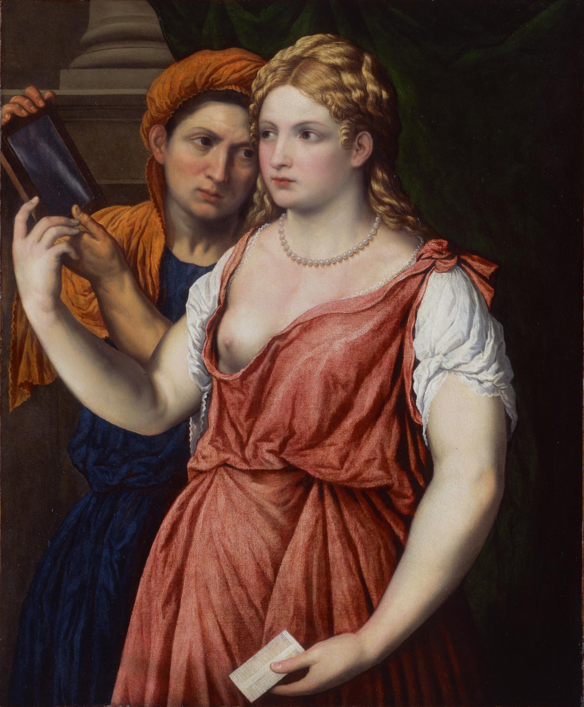 Paris Bordone (1500–1571), Junge Dame mit Spiegel und Magd, um 1535–1540 Öl auf Leinwand, 87 x 72, cm Hamburger Kunsthalle © bpk / Hamburger Kunsthalle Foto: Elke Walford