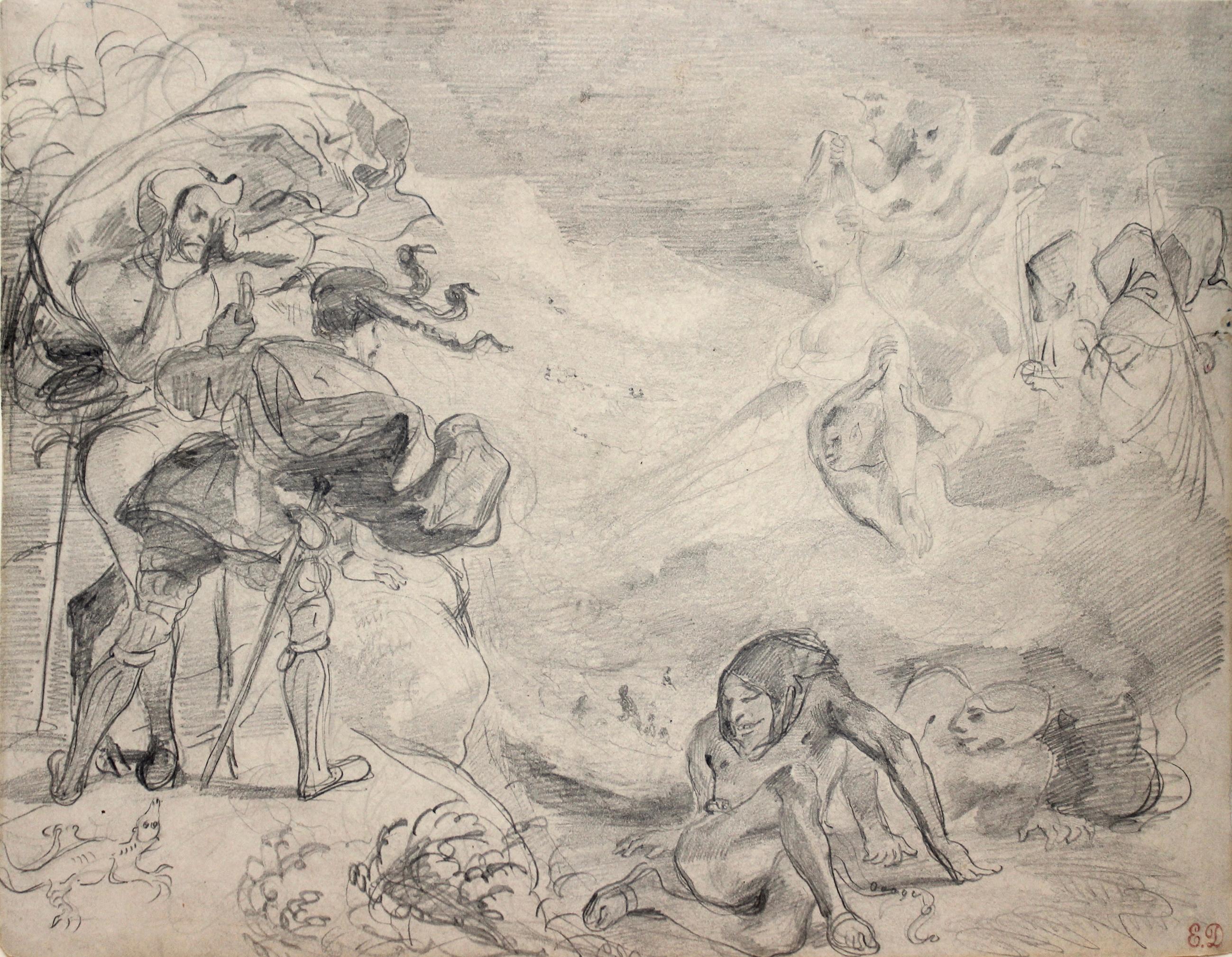 Eugène Delacroix (1798-1863): Gretchens Schatten erscheint Faust, um 1826/27, Bleistift, Schwarze Kreide, 242 x 322 mm, Dauerleihgabe der Stiftung für die Hamburger Kunstsammlungen