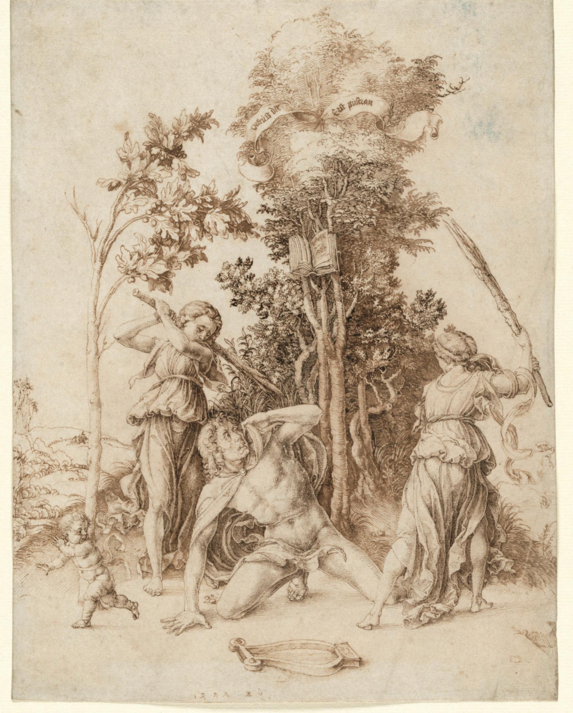 Albrecht Dürer, 1471 - 1528, Tod des Orpheus, 1494 Maße289 x 225 mm, Feder in Braun,  © Hamburger Kunsthalle / bpk Foto: Christoph Irrgang