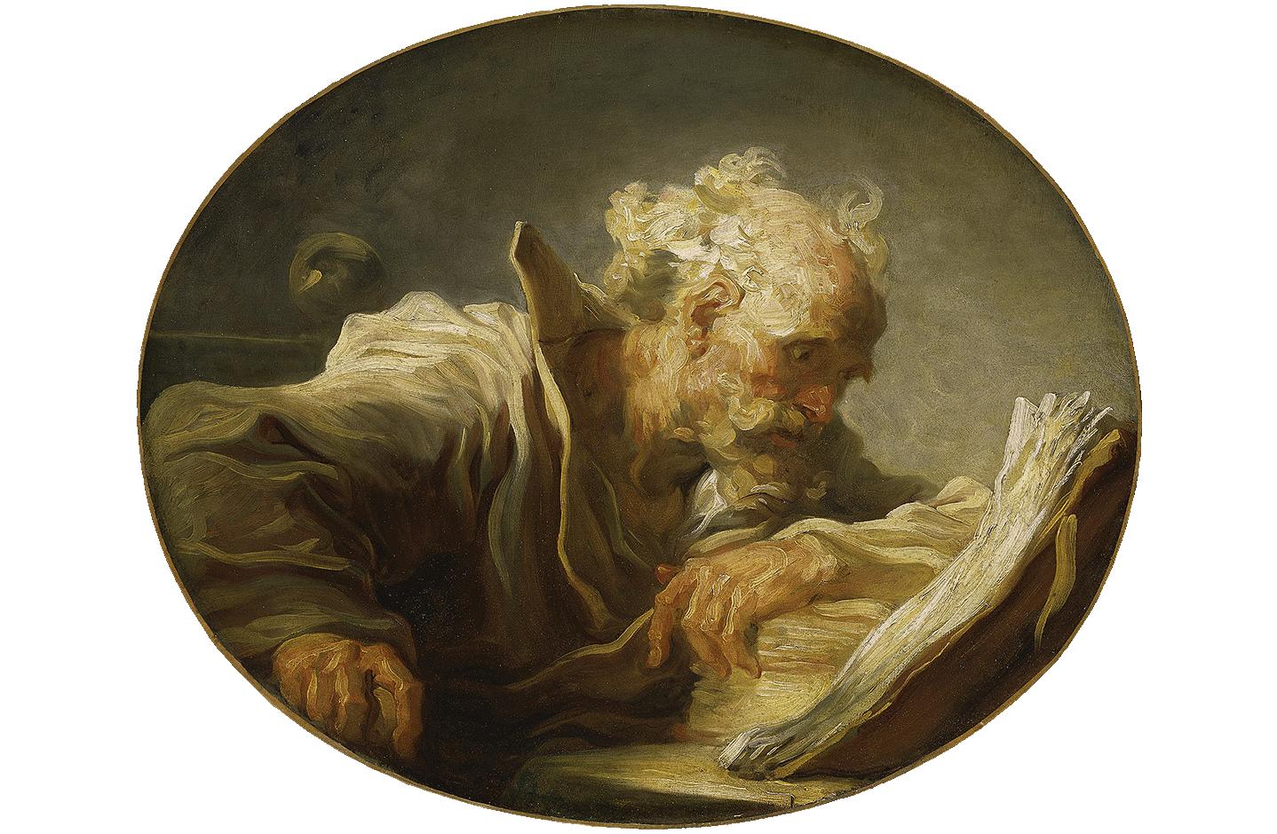 Hamburger Kunsthalle, Über die Sammlung, Alte Meister, Jean-Honoré Fragonard, Der Philosoph zwischen 1764 und 1769