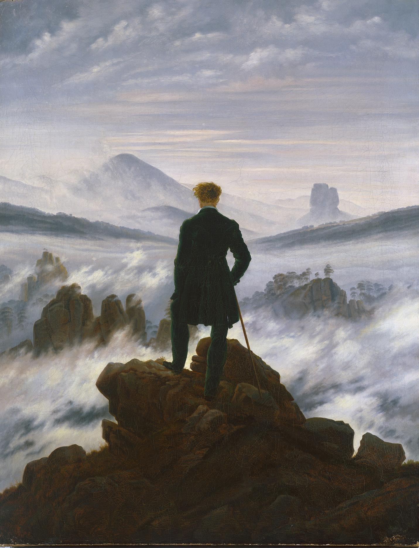 Caspar David Friedrich, 1774 - 1840, Wanderer über dem Nebelmeer Datierungum 1817 Maße94,8 x 74,8 cm, Öl auf Leinwand, © SHK/Hamburger Kunsthalle/bpk Foto: Elke Walford