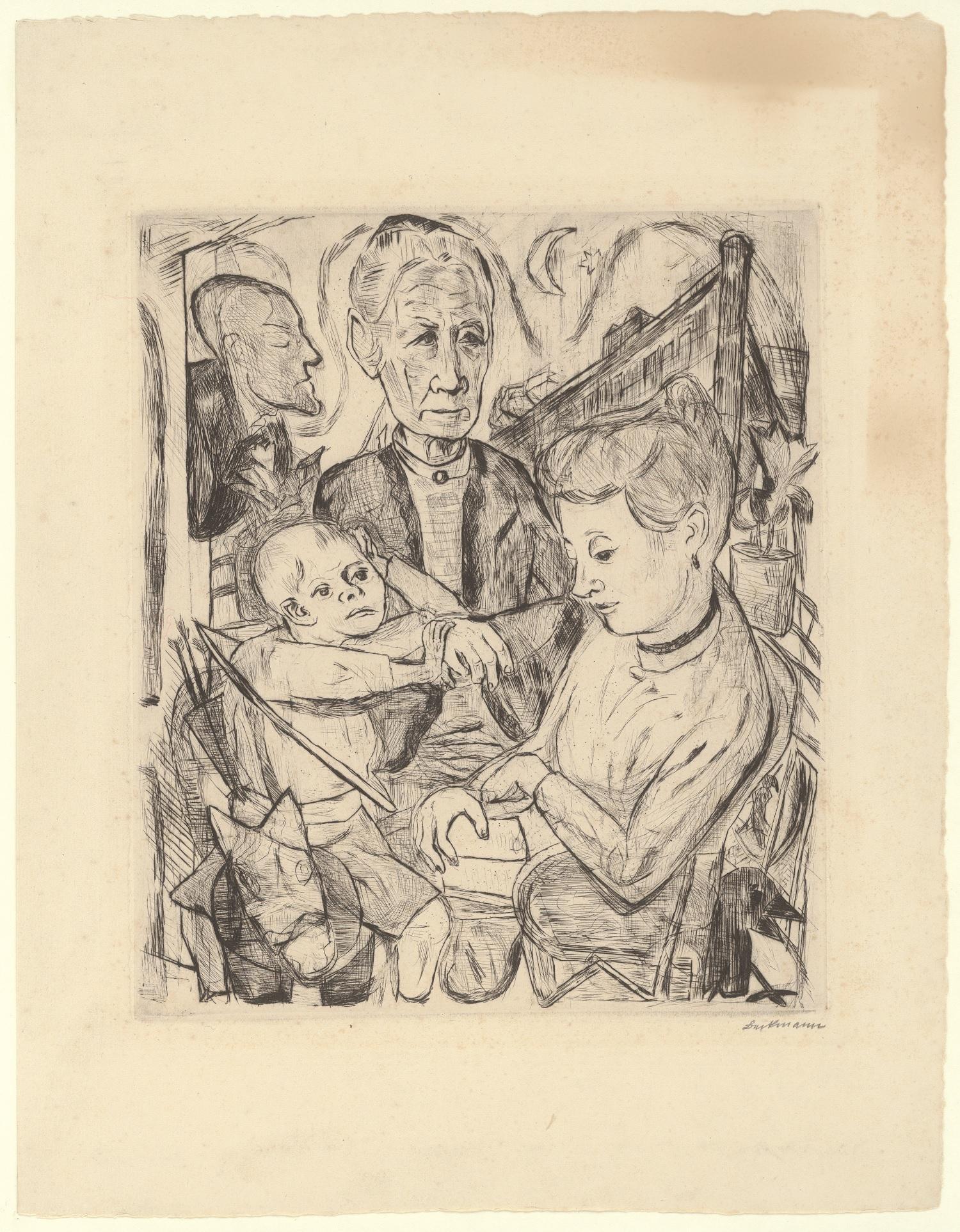 Max Beckmann, Familienszene (Familie Beckmann), 1918, Blatt 2 der Mappe Gesichter, Kaltnadelradierung48 x 33,3 cm