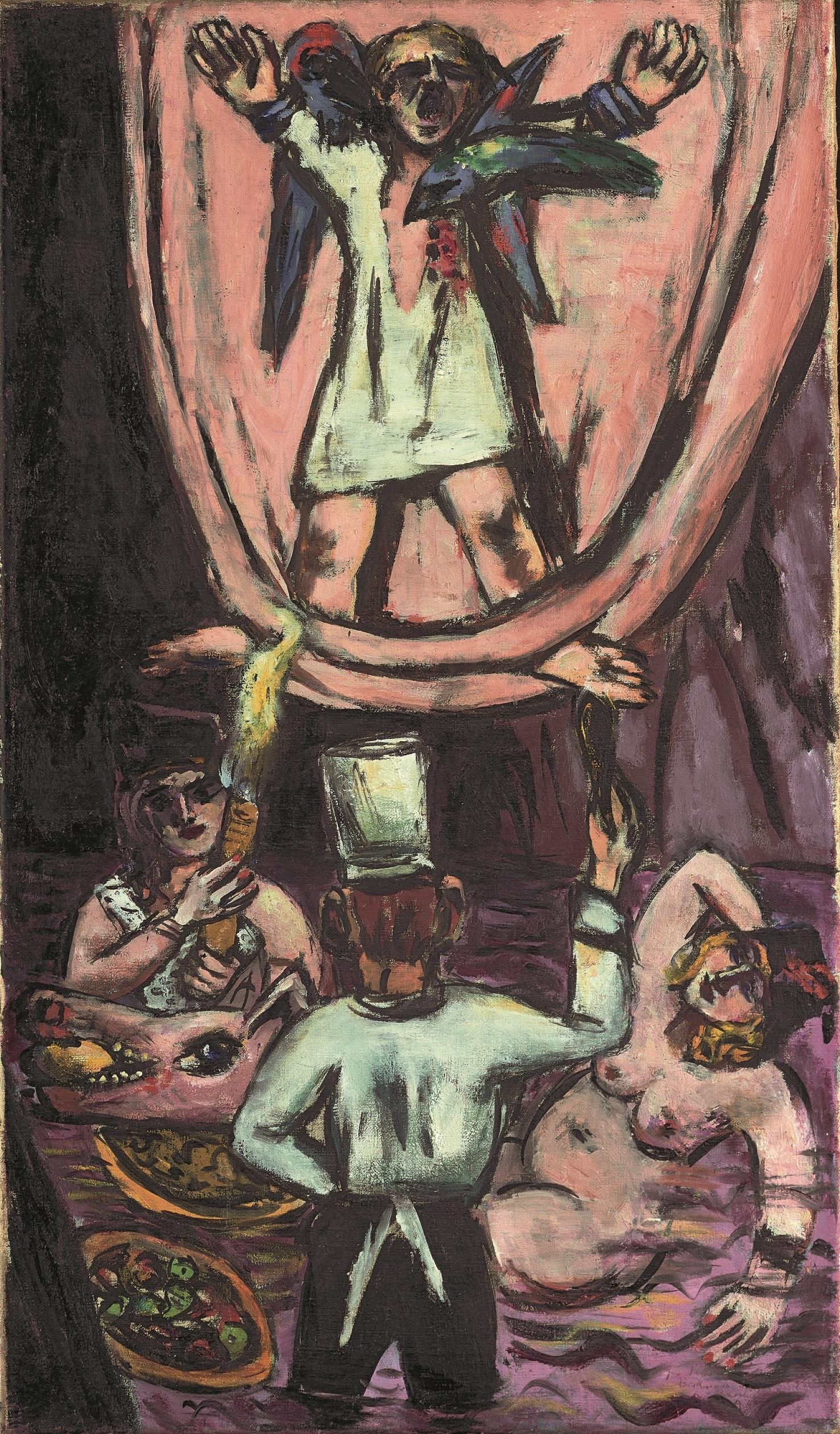 """Max Beckman Prometheus (Der Hängengebliebene)"""", 1942, Öl auf Leinwand, 95 × 55,5 cm, Hamburger Kunsthalle, Dauerleihgabe Nachlass Peter und Maja Beckmann. Restauriert mit Mitteln der Hermann Reemtsma Stiftung, 2015,  © VG Bild-Kunst, Bonn 2020"""