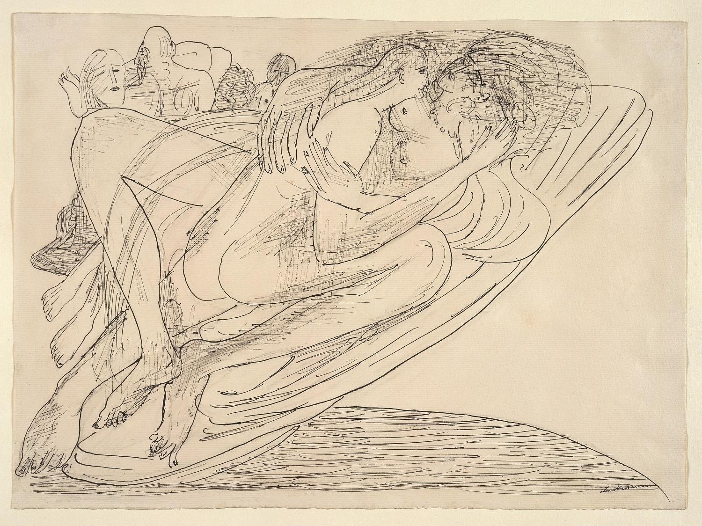 Max Beckmann, Schwebende, 1944, Feder in schwarzer Tusche, 26.9 x 36.5 cm, Privatsammlung