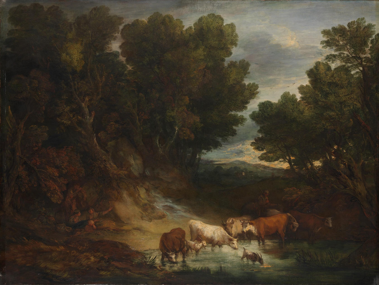 THOMAS GAINSBOROUGH (1727-1788) Waldlandschaft mit Rindern an einem Teich (»Die Tränke«), vor 1777 Schließen Öl auf Leinwand, 147,3 x 180,3 cm London, The National Gallery © The National Gallery, London