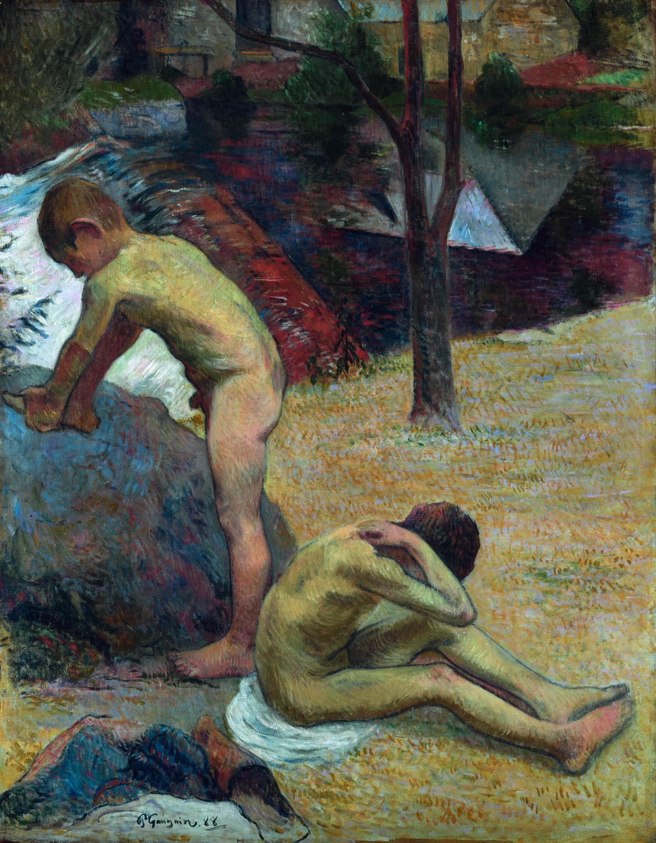 Paul Gauguin (1848 - 1903), Badende bretonische Knaben,1888, 92 x 72 cm Öl auf Leinwand Dauerleihgabe der Stiftung Hamburger Kunstsammlungen © SHK/Hamburger Kunsthalle/bpk, Foto: Elke Walford