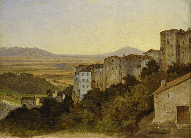 Heinrich Reinhold (1788–1825) Blick auf Olevano, 1821/24  Öl auf Papier auf Leinwand,  220 x 293 mm   © Hamburger Kunsthalle / bpk Foto: Elke Walford