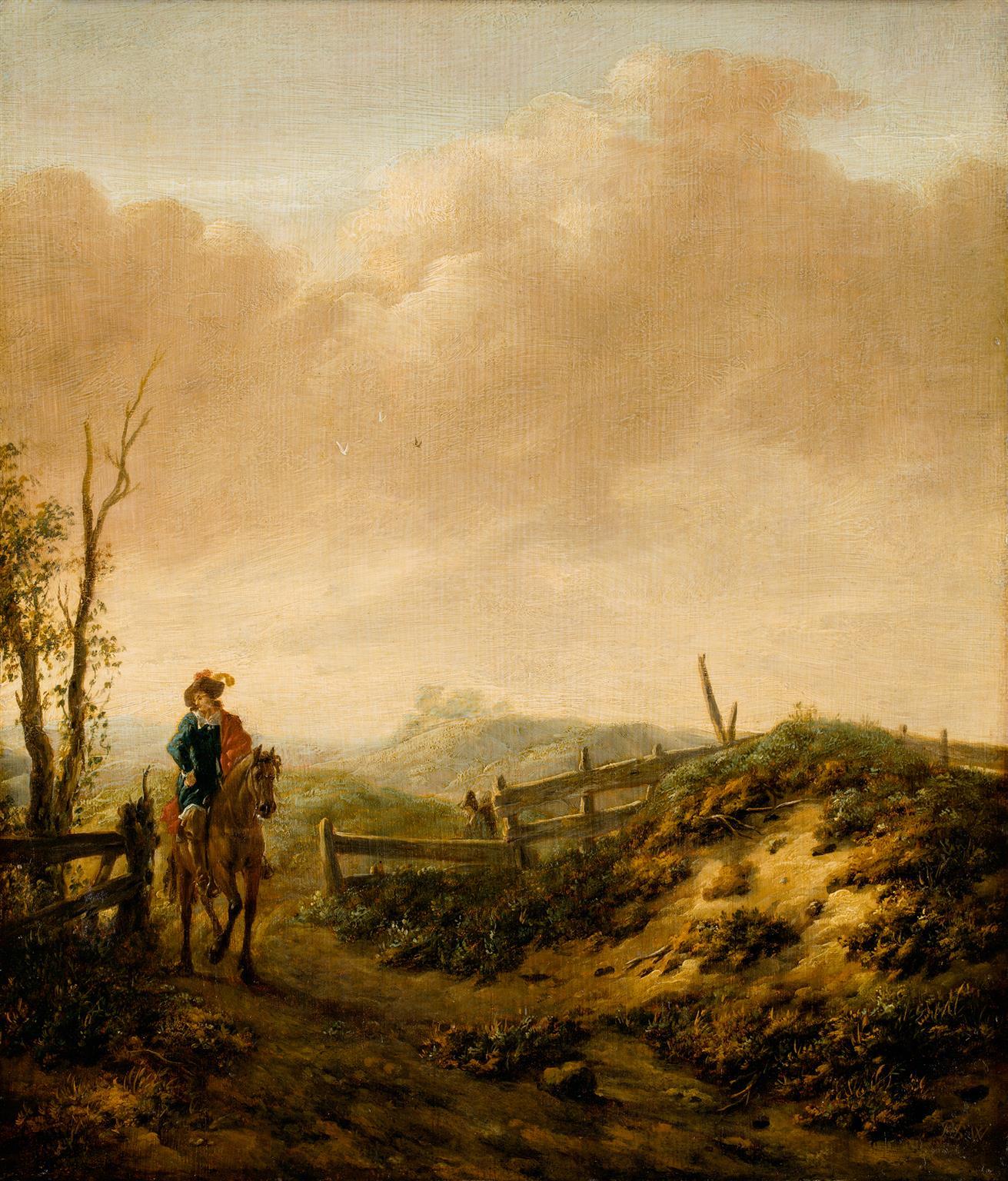 Philips Wouwerman (1619 - 1668), Dünenlandschaft mit Reiter, © Hamburger Kunsthalle / bpk,  Foto: Christoph Irrgang