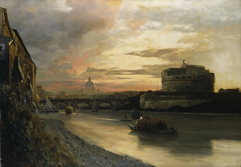 Oswald Achenbach, Die Engelsburg in Rom, 1883, Öl auf Leinwand, © Hamburger Kunsthalle / bpk Foto: Elke Walford