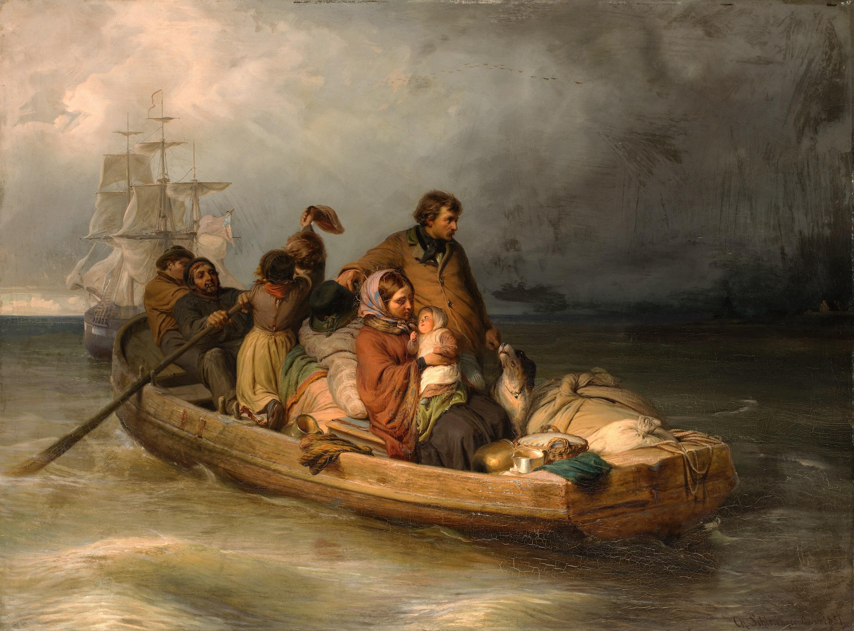 Karl Schlesinger, (1825 - 1893), Auswanderer setzen über, 1851, © Hamburger Kunsthalle / bpk Foto: Christoph Irrgang