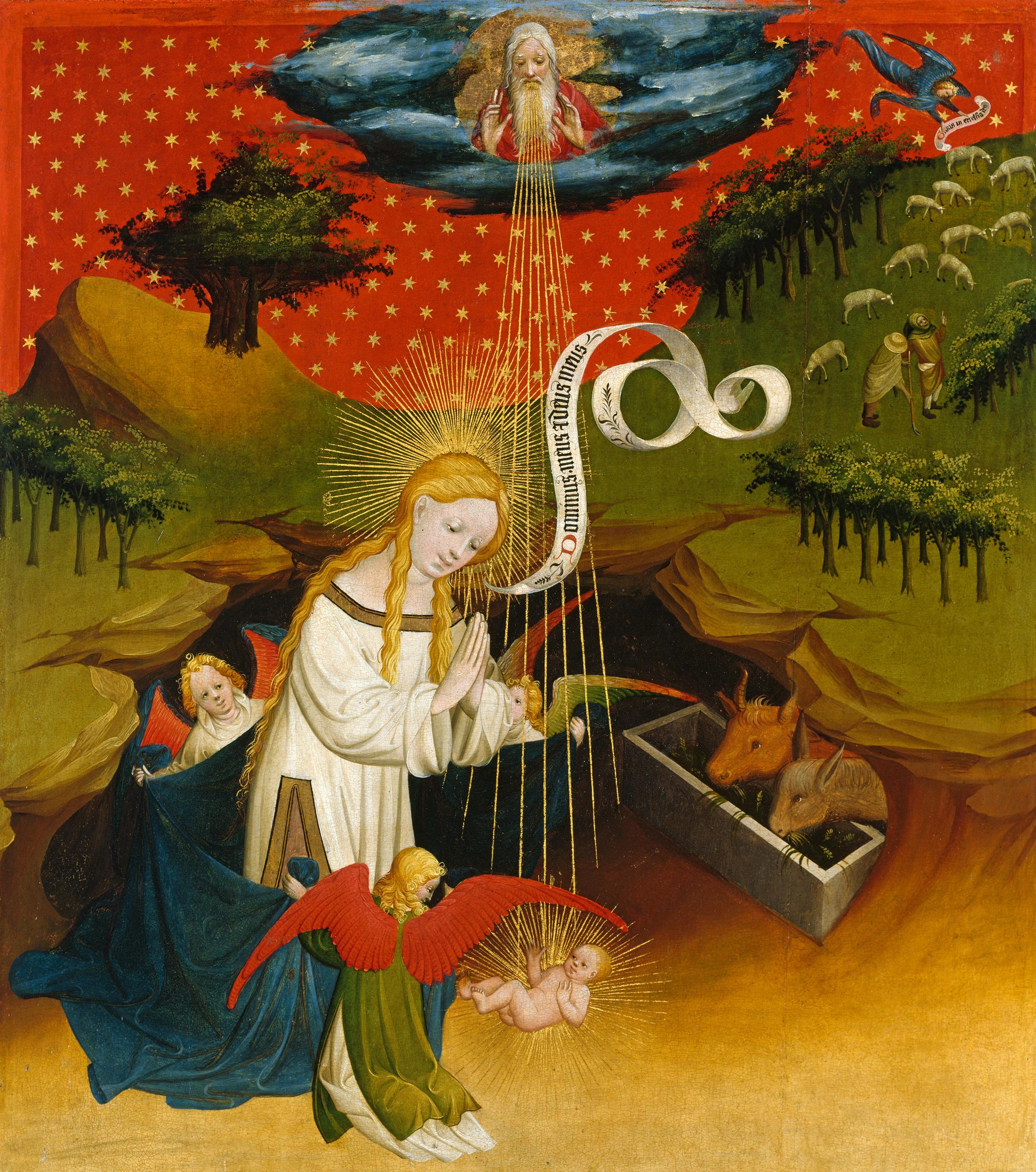 Meister Francke, Die Anbetung des Kindes (Teil des Thomas-Altars der hamburgischen Englandfahrer), um 1426, Tempera und Öl auf Eichenholz, © Hamburger Kunsthalle
