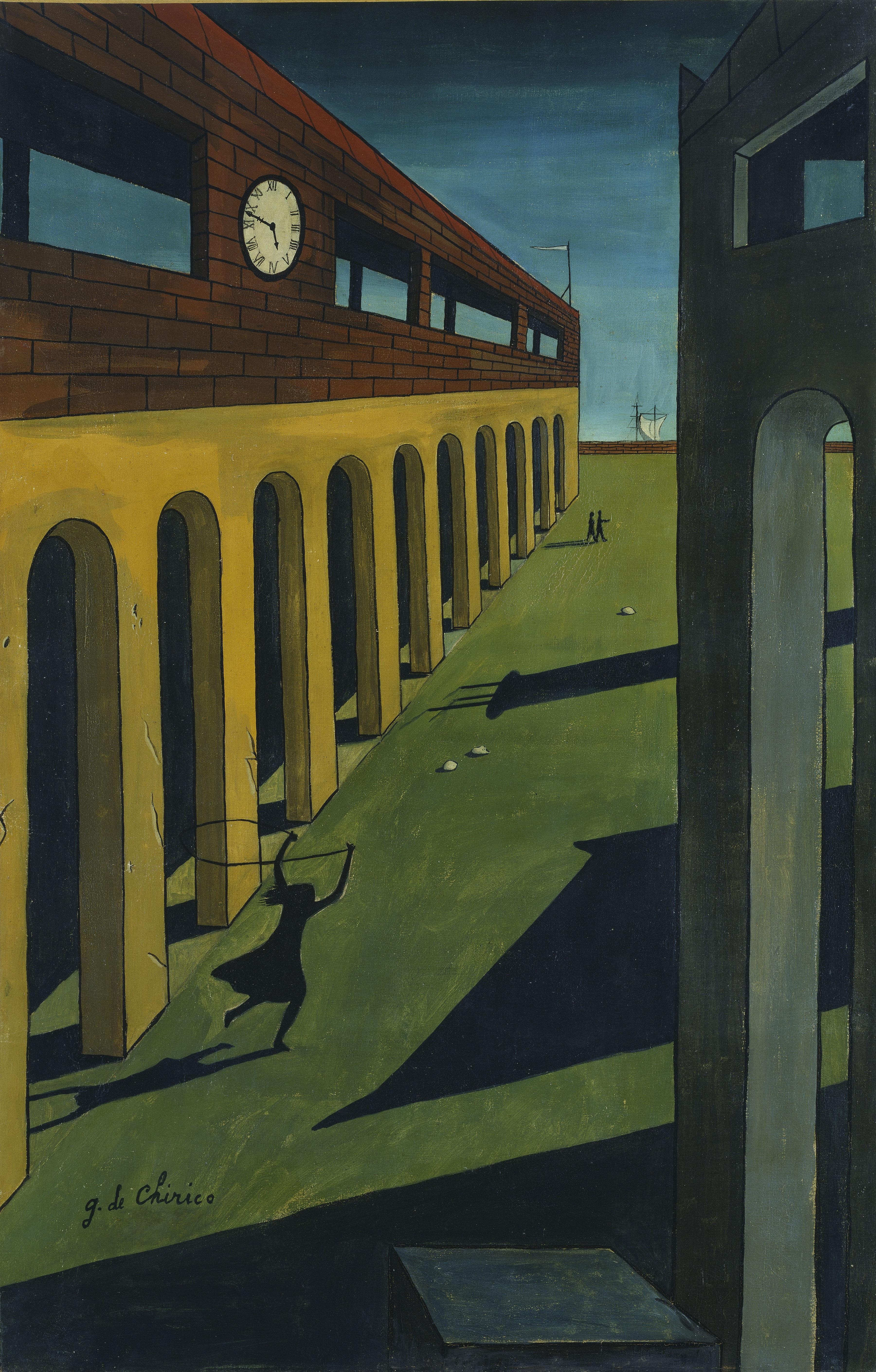 Oscar Domínguez Melancholie einer Straße (nach Giorgio de Chirico) Öl auf Leinwand, 91 x 59 cm Hamburger Kunsthalle, erworben 1957