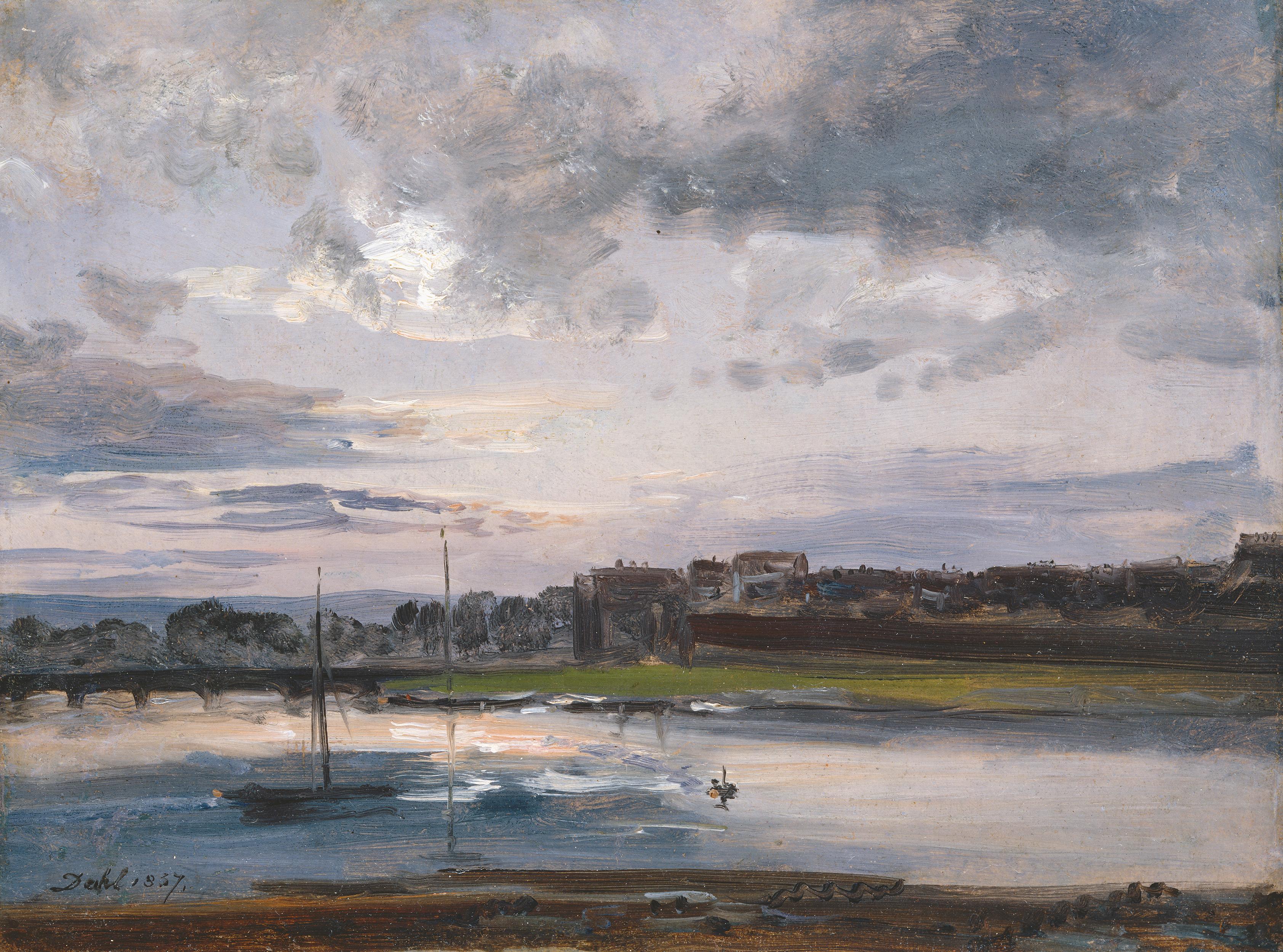 Johann Christian Dahl, Elbe am Neustädter Ufer in Dresden im Abendlicht, 1837, Öl auf Papier, 25,7 x 35 cm,