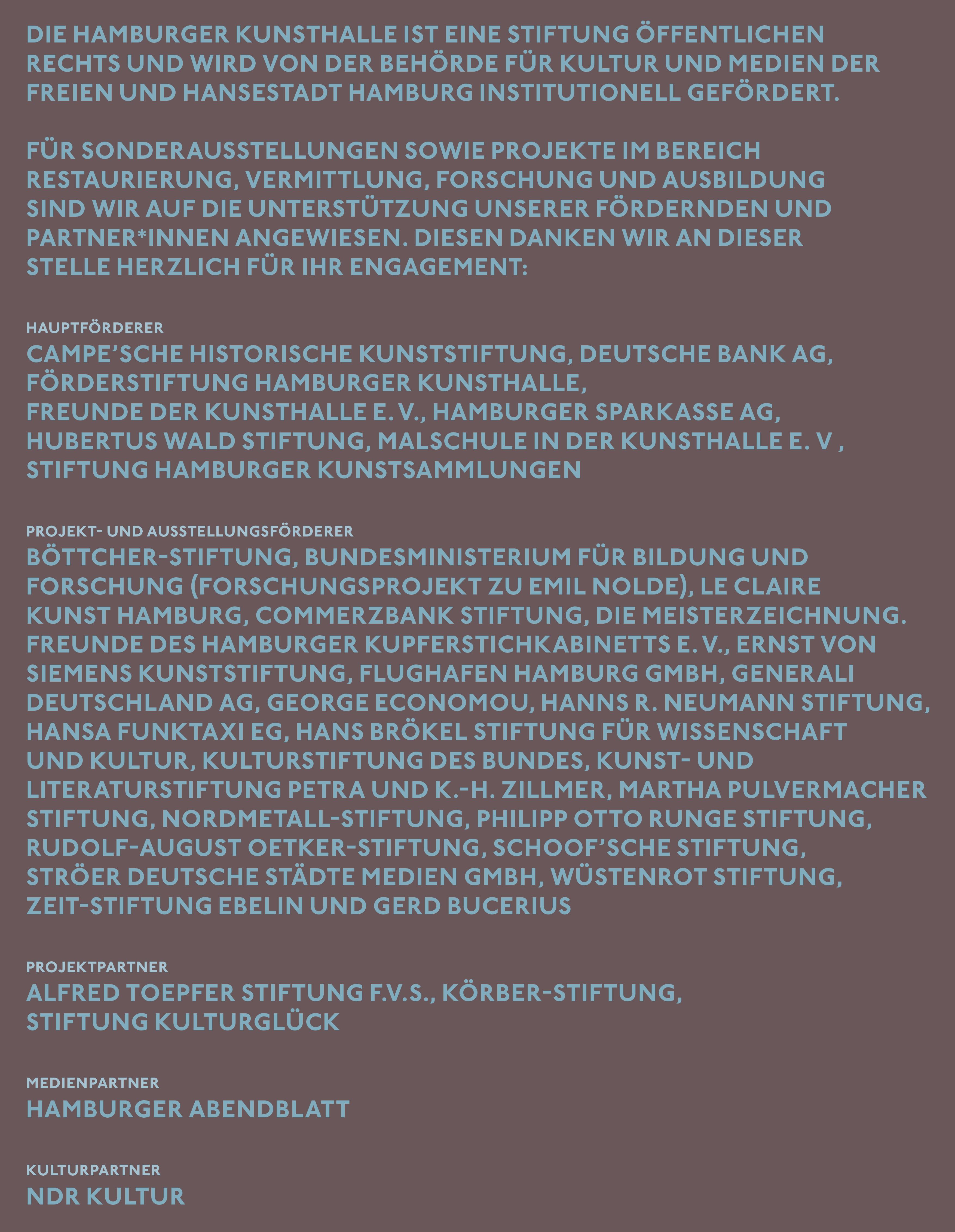 Förderer Hamburger Kunsthalle