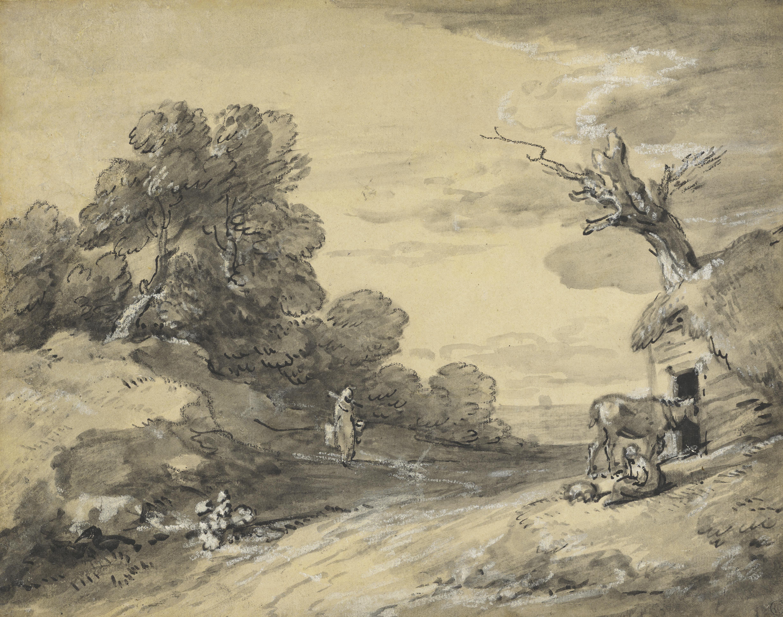 Thomas Gainsborough (1727 - 1788), »Landschaft mit Pferd und Figuren«, um 1780 - 1785, © Hamburger Kunsthalle