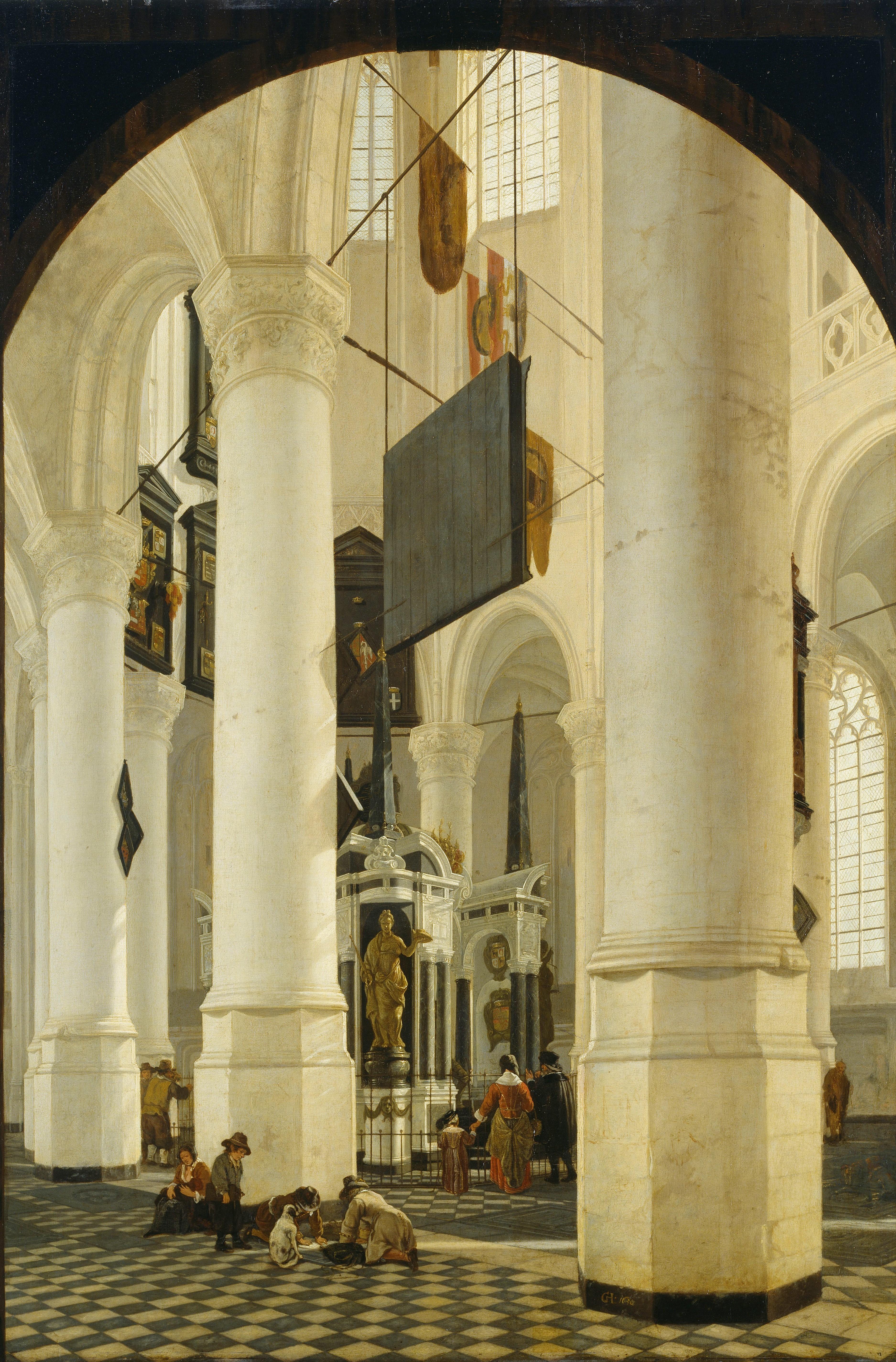 Gerard Houckgeest, Der Chor der Nieuwe Kerk in Delft mit dem Grabmal Willems I. von Oranje, 1650, Hamburger Kunsthalle, Foto: Elke Walford