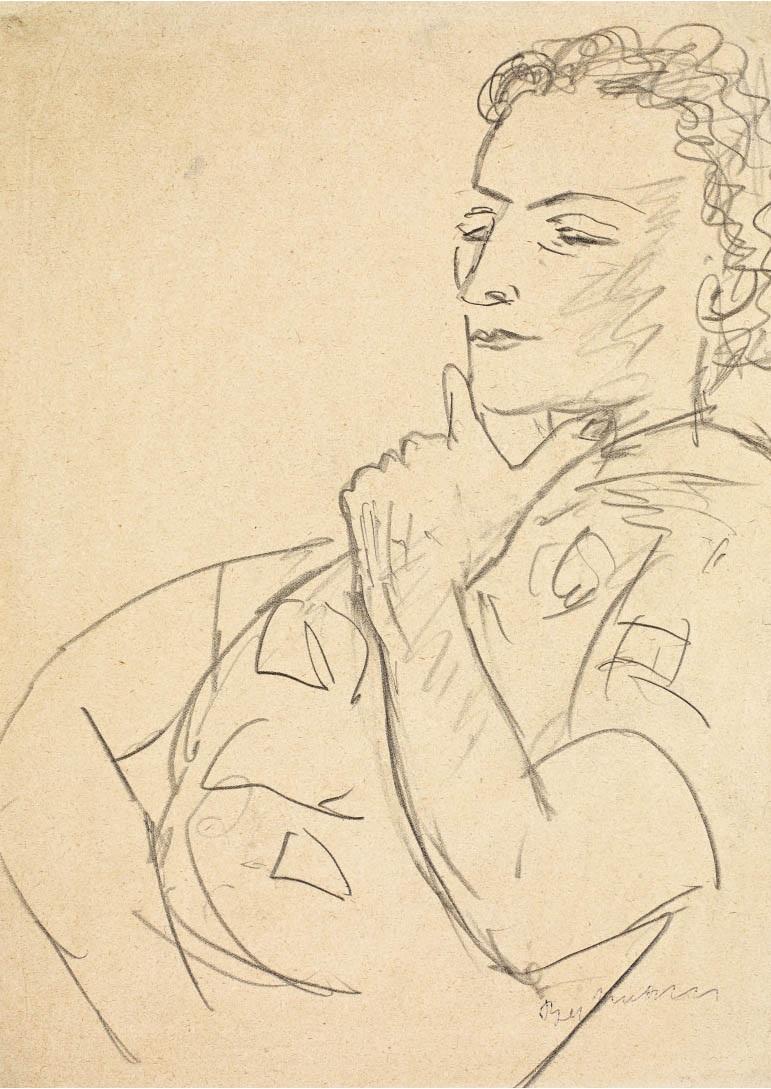 Madame Pomaret II, 1938, Bleistift, 30,8 x 22,5 cm, Museum der bildenden Künste Leipzig, Nachlass Mathilde Q. Beckmann,  © VG Bild-Kunst, Bonn 2020