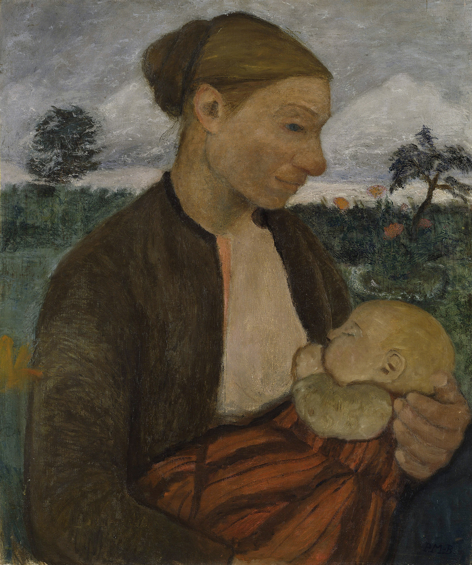 Paula Modersohn-Becker, 1876 - 1907, Mutter mit Kind, um 1903, 69 x 58 cm, Öl und Tempera auf Leinwand, © Hamburger Kunsthalle / bpk Foto: Elke Walford