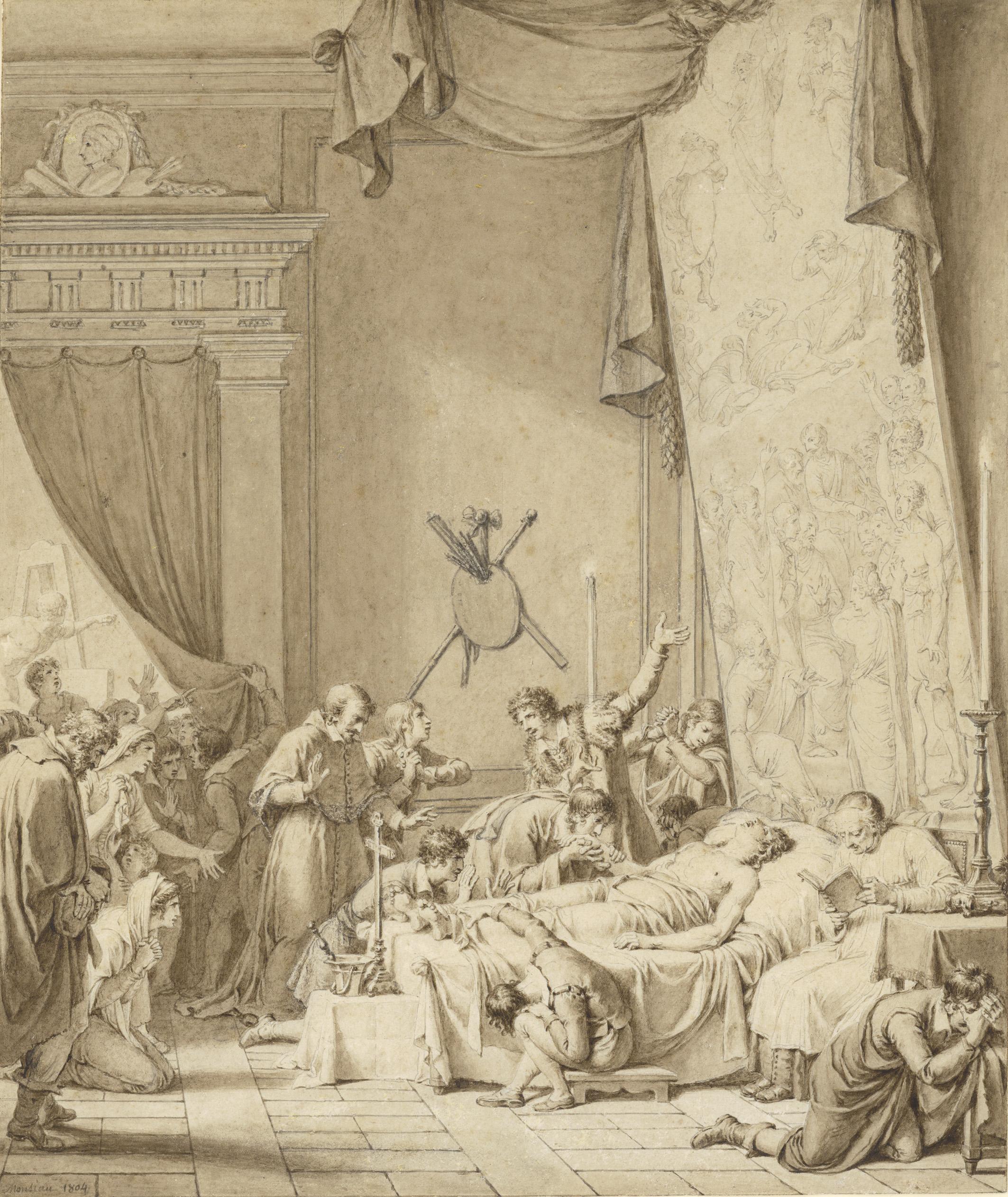 Nicolas-André Monsiau (1754–1837) Der Tod Raffaels, 1804 Feder in Braun über Bleistift, hellbraun laviert, auf beigem Papier, 322 x 272 mm © Hamburger Kunsthalle / bpk Foto: Christoph Irrgang