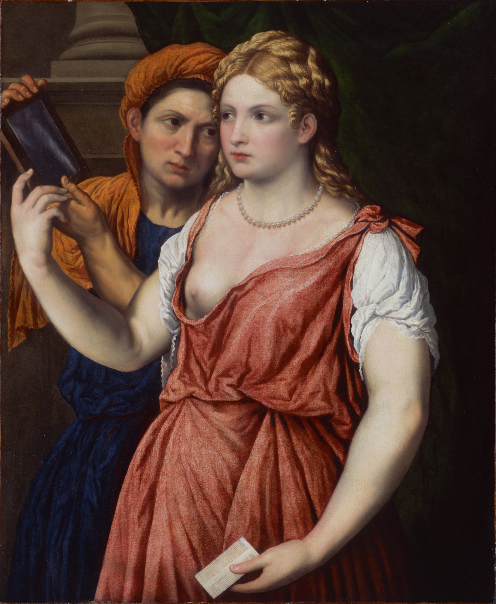 Paris Bordone (1500-1571), Junge Dame mit Spiegel und Magd, um 1535-40, Öl auf Leinwand,© Hamburger Kunsthalle / bpk, Foto: Elke Walford