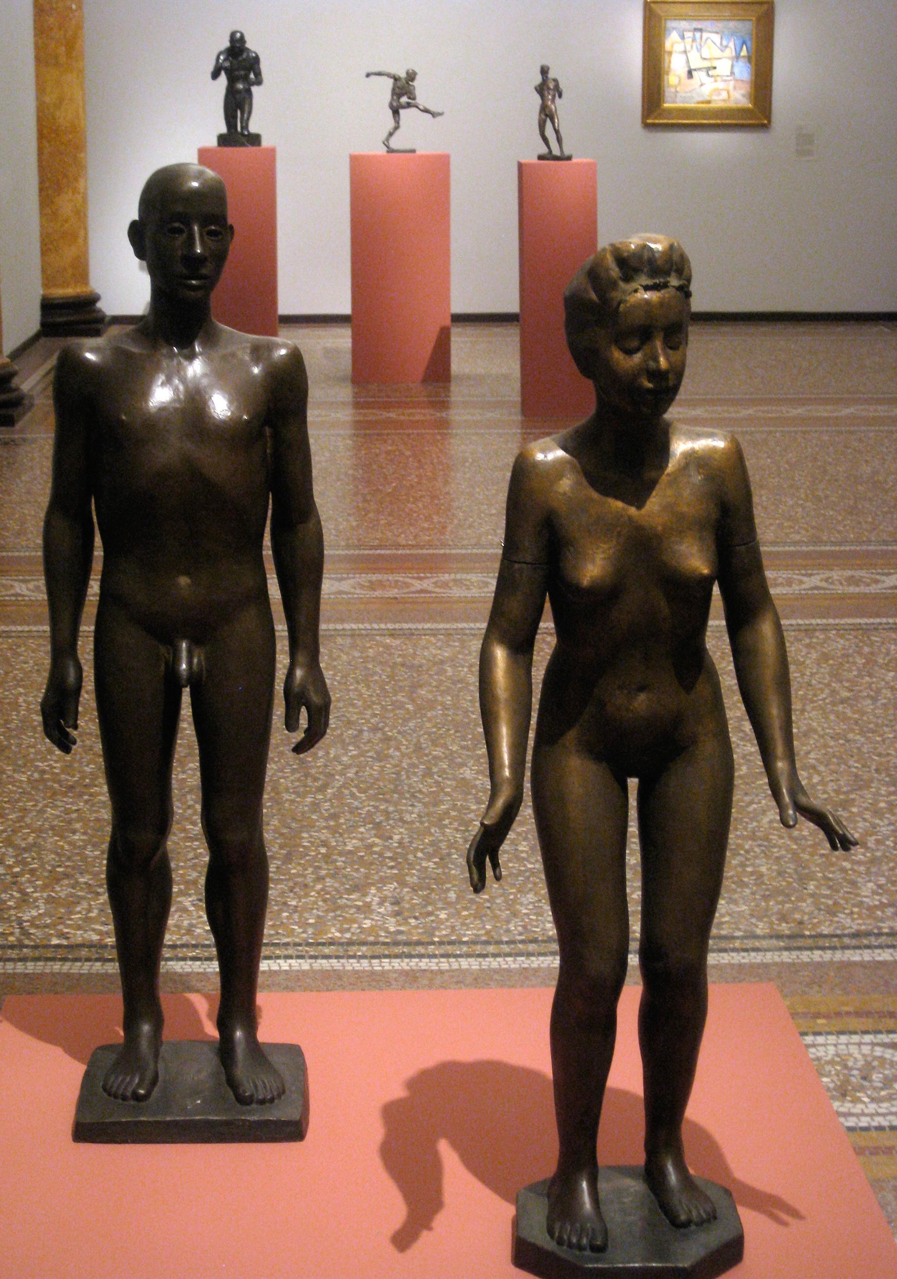 Hamburger Kunsthalle, Provenienzforschung, Flechtheim, Ausstellung, Dokumentationsfoto, Figuren, Bronze
