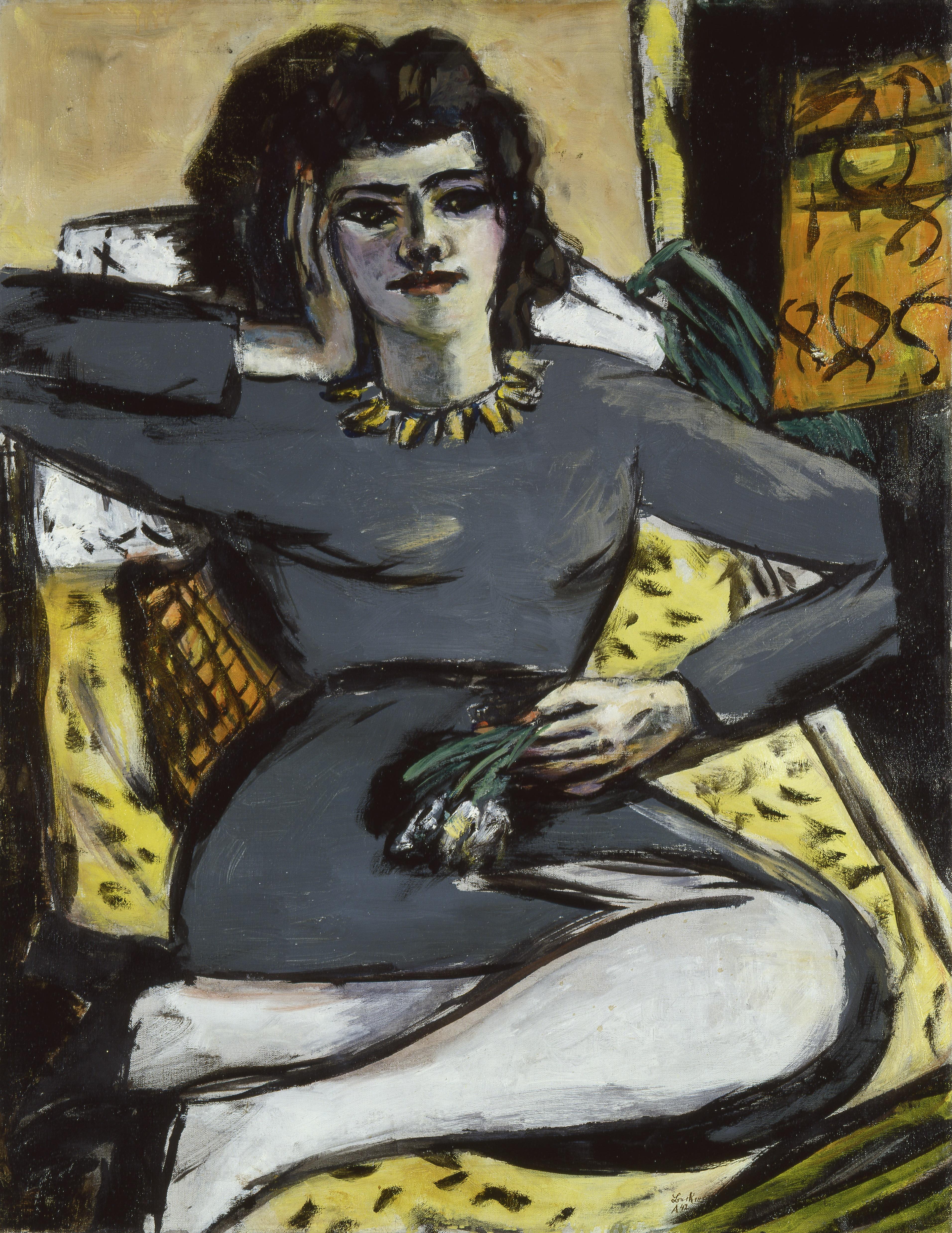 Max Beckmann, Ruhende Frau mit Nelken (Quappi auf dem Sofa bei Licht), 1940-42, Öl auf Leinwand 90, 2 x 70,5 cm, Sprengel Museum Hannover. Kunstbesitz der Landeshauptstadt Hannover