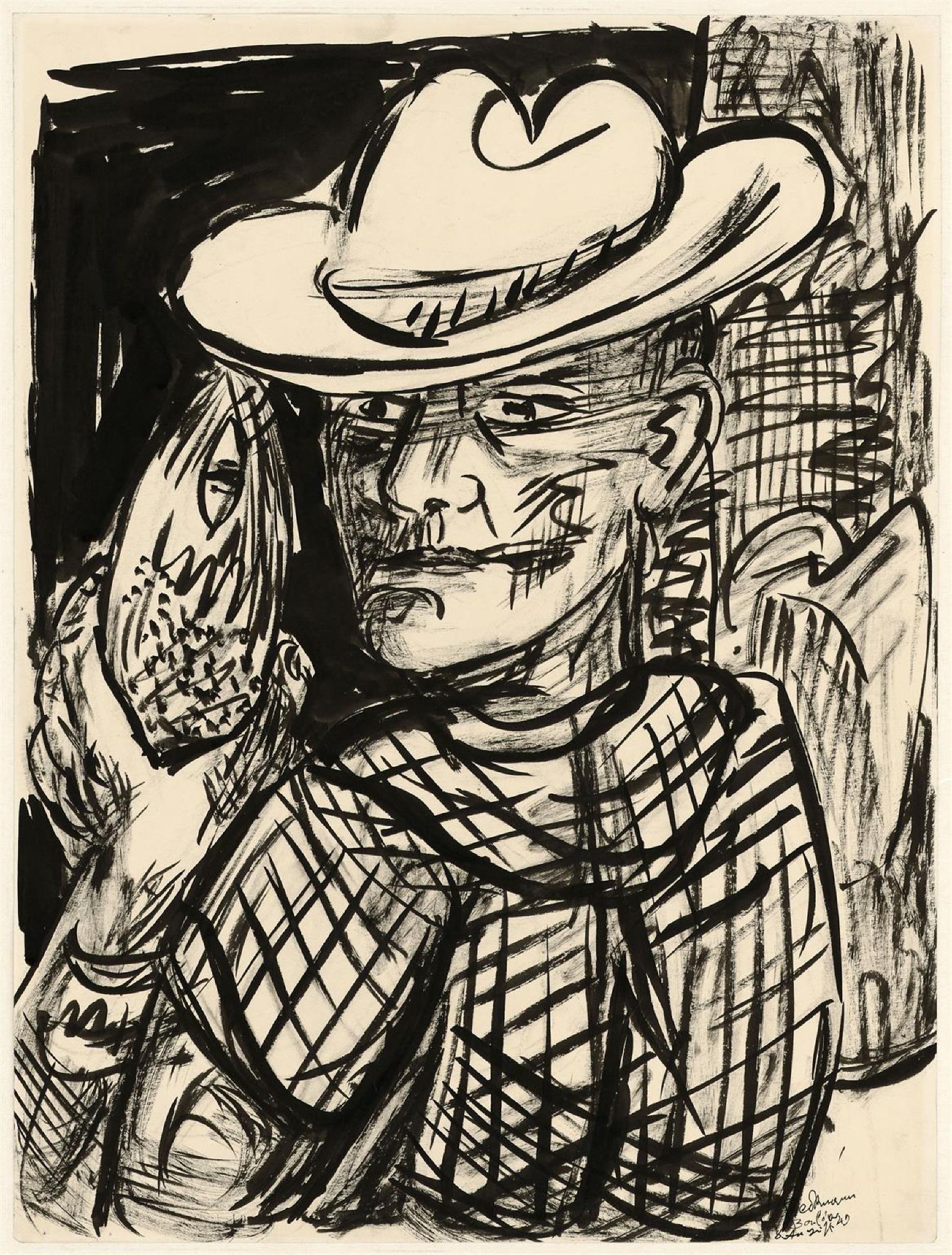 Max Beckmann, (1884 - 1950), Selbstbildnis mit Fisch, 1949, © Hamburger Kunsthalle / bpk Foto: Christoph Irrgang,© VG Bild-Kunst, Bonn, 2020