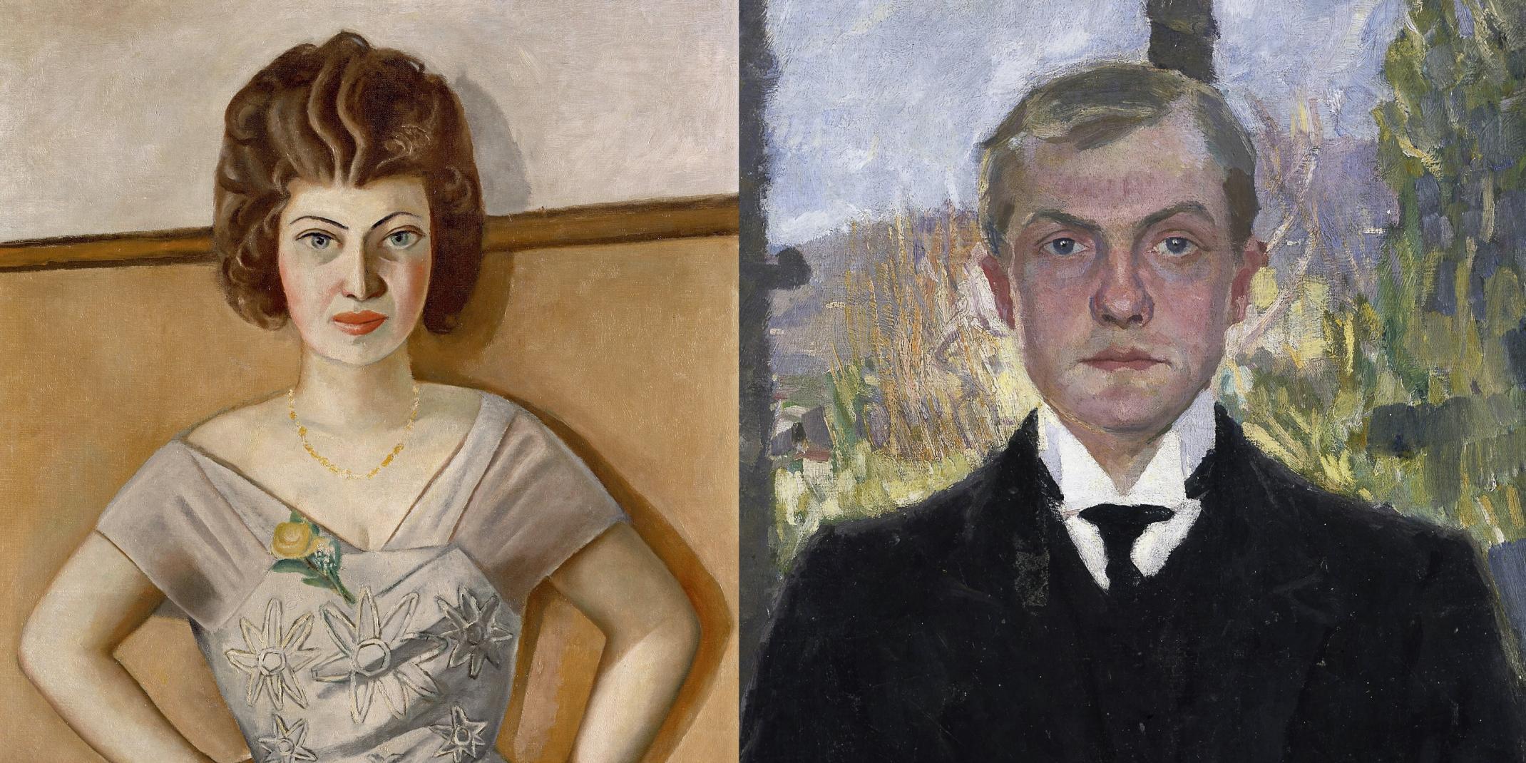 Collage: links Max Beckmann (1884–1950) Bildnis einer Rumänin (Bildnis Frau Dr. Heidel), 1922, © SHK / Hamburg, rechts: Selbstbildnis Florenz, 1907, Hamburger Kunsthalle, © VG Bild-Kunst, Bonn 2020