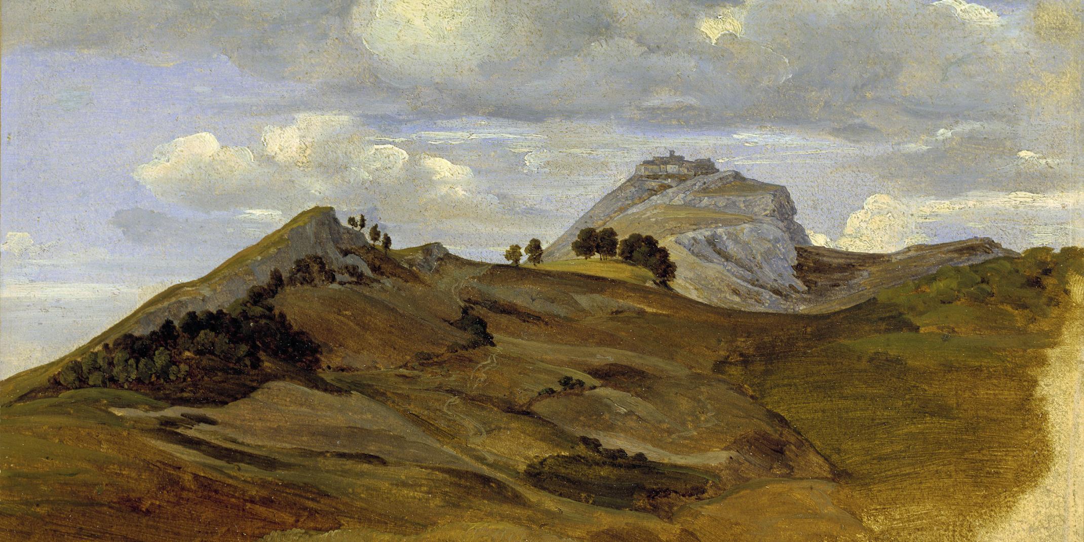 Heinrich Reinhold (1788 – 1825): Blick auf Civitella, 1822, Öl auf Papier auf Pappe, 16,5 x 25,7 cm © Hamburger Kunsthalle / bpk, Foto: Elke Walford