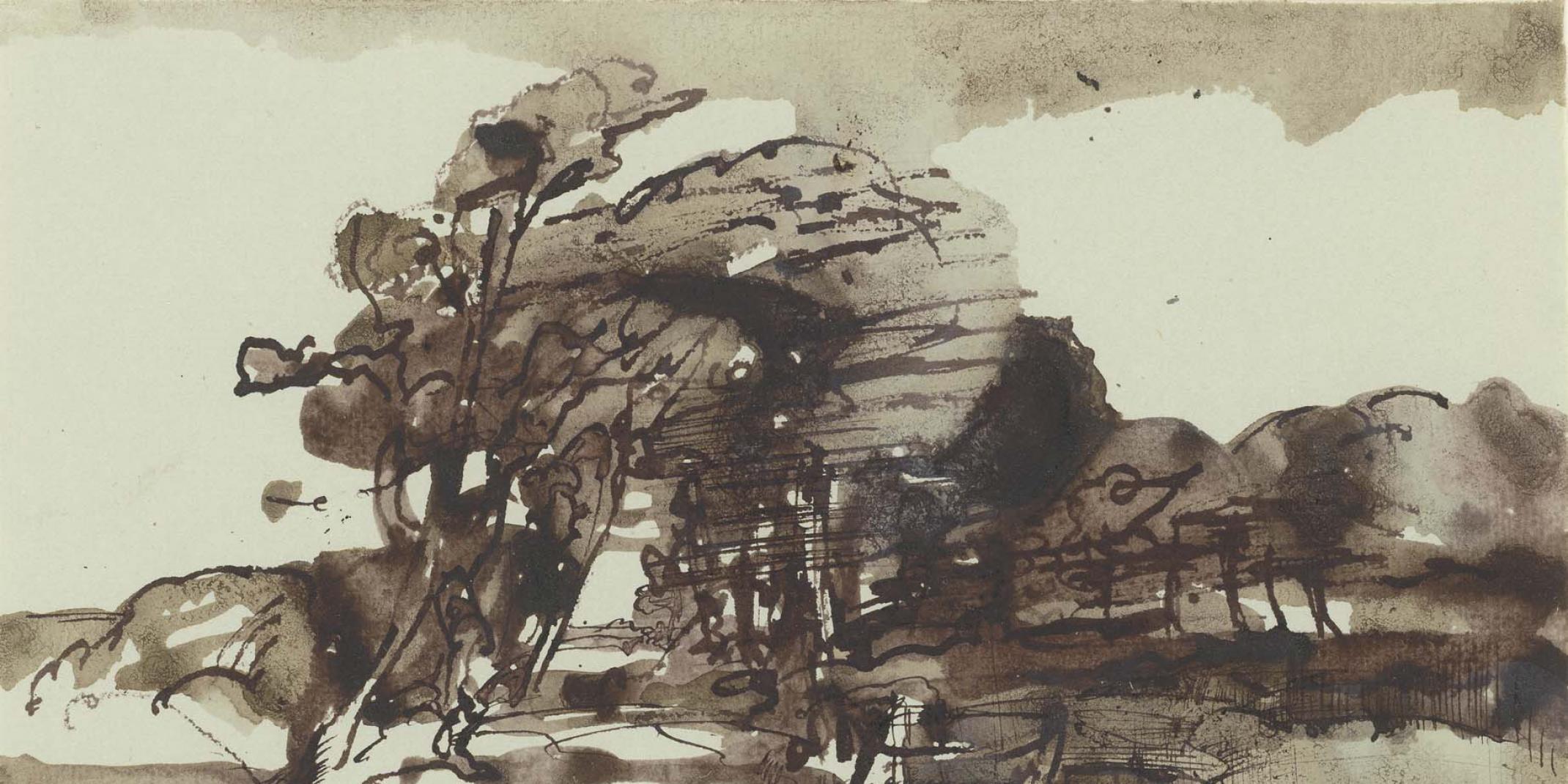 Horst Janssen (1929–1995), Landschaft in Holstein – Hommage à Claude Lorrain, 4. August 1972, Hamburger Kunsthalle, Kupferstich-kabinett, Legat Gerhard Schack, 2007 © VG Bild-Kunst, Bonn 2017 Foto: Christoph Irrgang