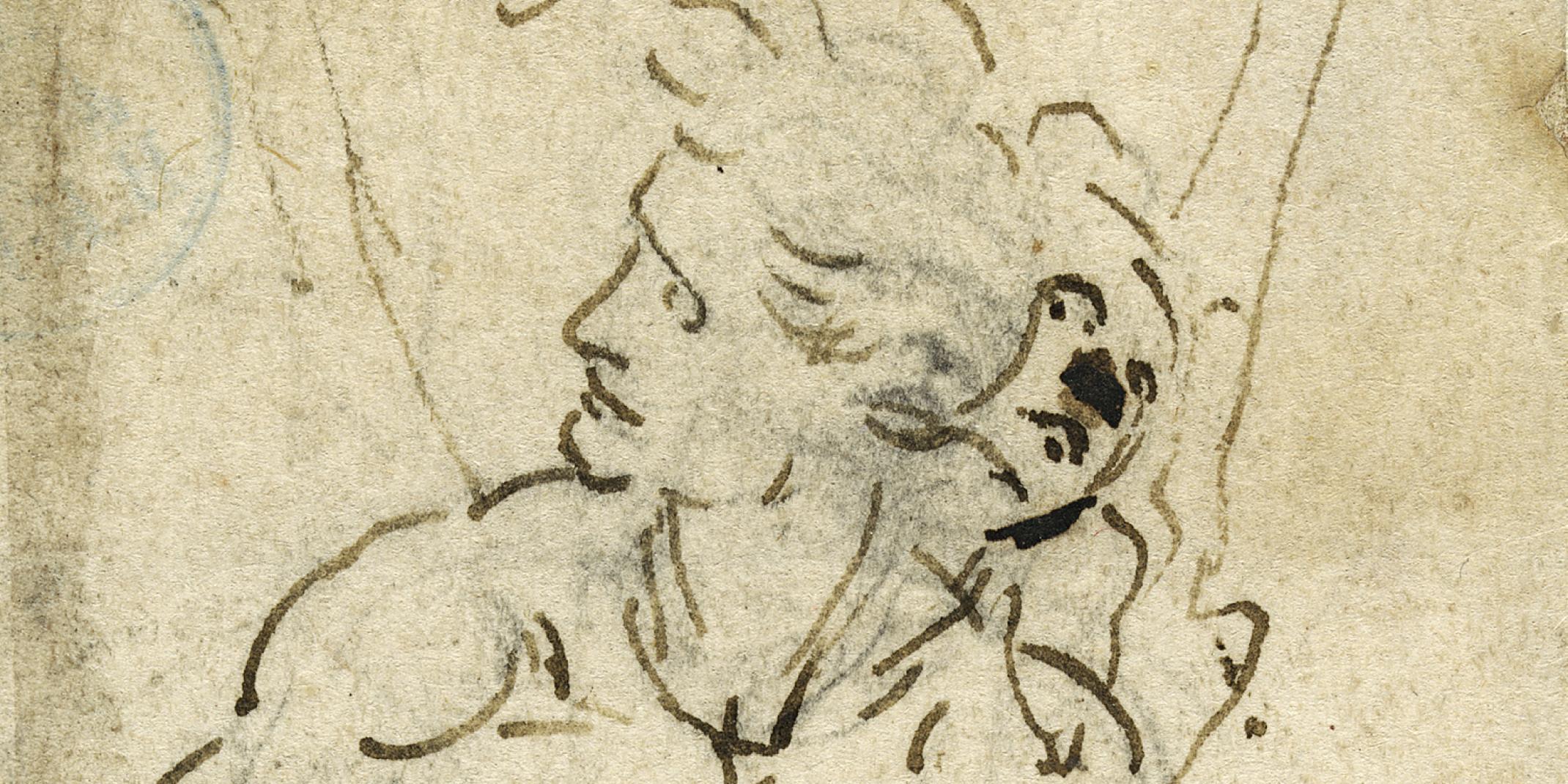 Detail: Leonardo da Vinci (1452–1519) Hl. Sebastian, um 1478-1483 Feder in Braun über Kohle, 173 x 63 mm Legat Georg Ernst Harzen, 1863 © Hamburger Kunsthalle, Kupferstichkabinett / bpk Foto: Christoph Irrgang