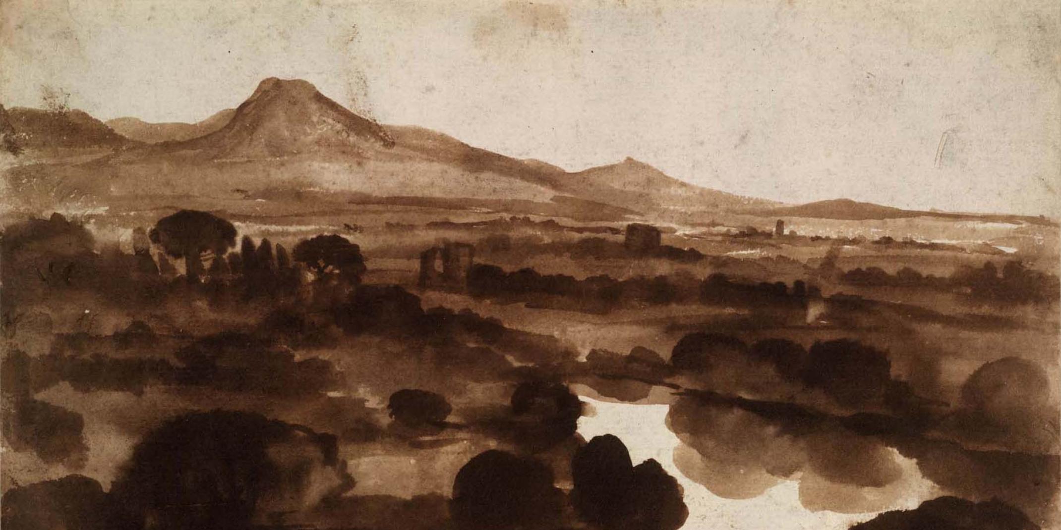 Claude Lorrain, Blick über den Tiber von einem Hügel bei Acqua Acetosa, um 1640 Pinsel in Dunkelbraun, 185 x 268 mm Verso: Skizze eines Hügels, Feder in Braun THE BRITISH MUSEUM, LONDON, INV.-NR. Oo.7-212