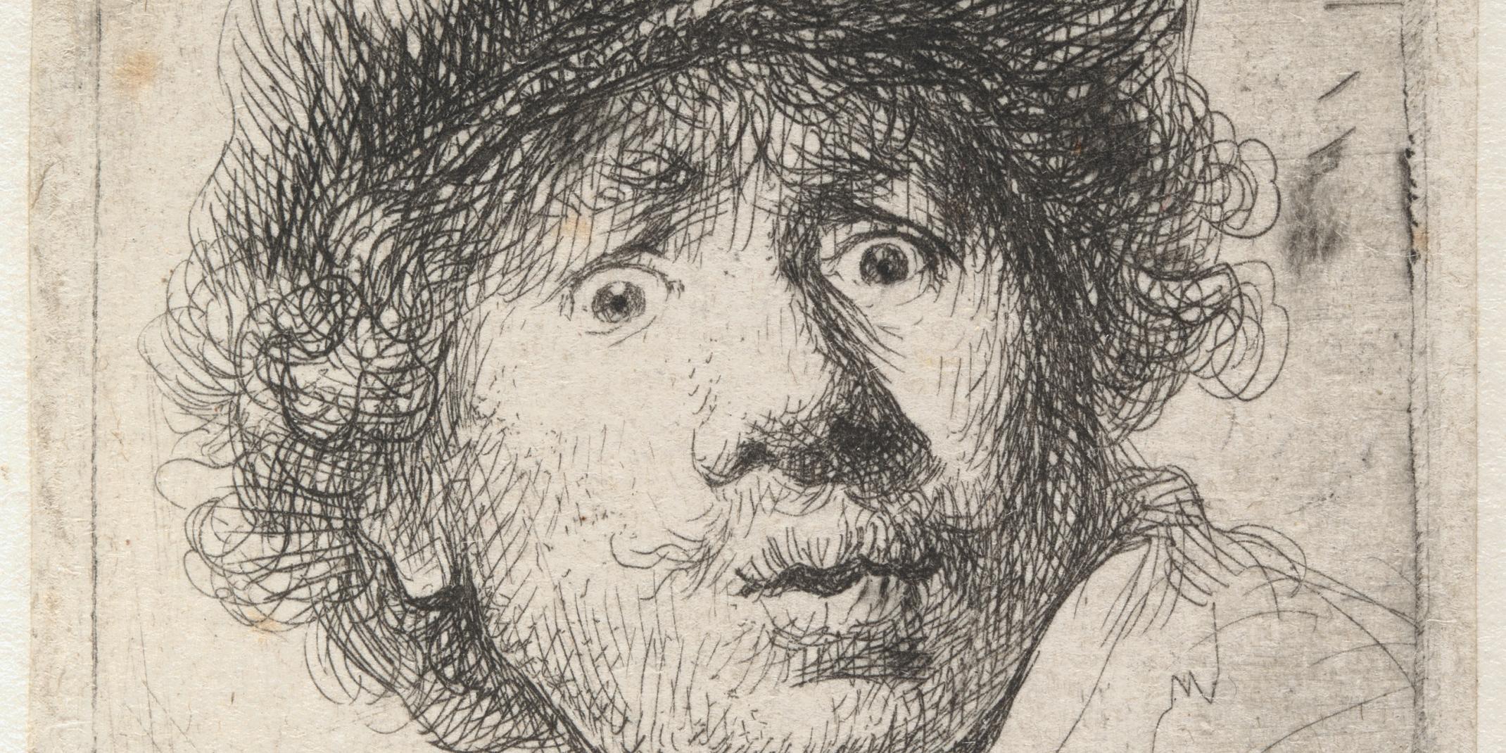 Rembrandt Harmensz. van Rijn (1606–1669). Selbstbildnis mit Mütze, den Mund geöffnet (Ausschnitt) 1630 Radierung, 51 x 46 mm © Hamburger Kunsthalle / bpk Foto: Christoph Irrgang