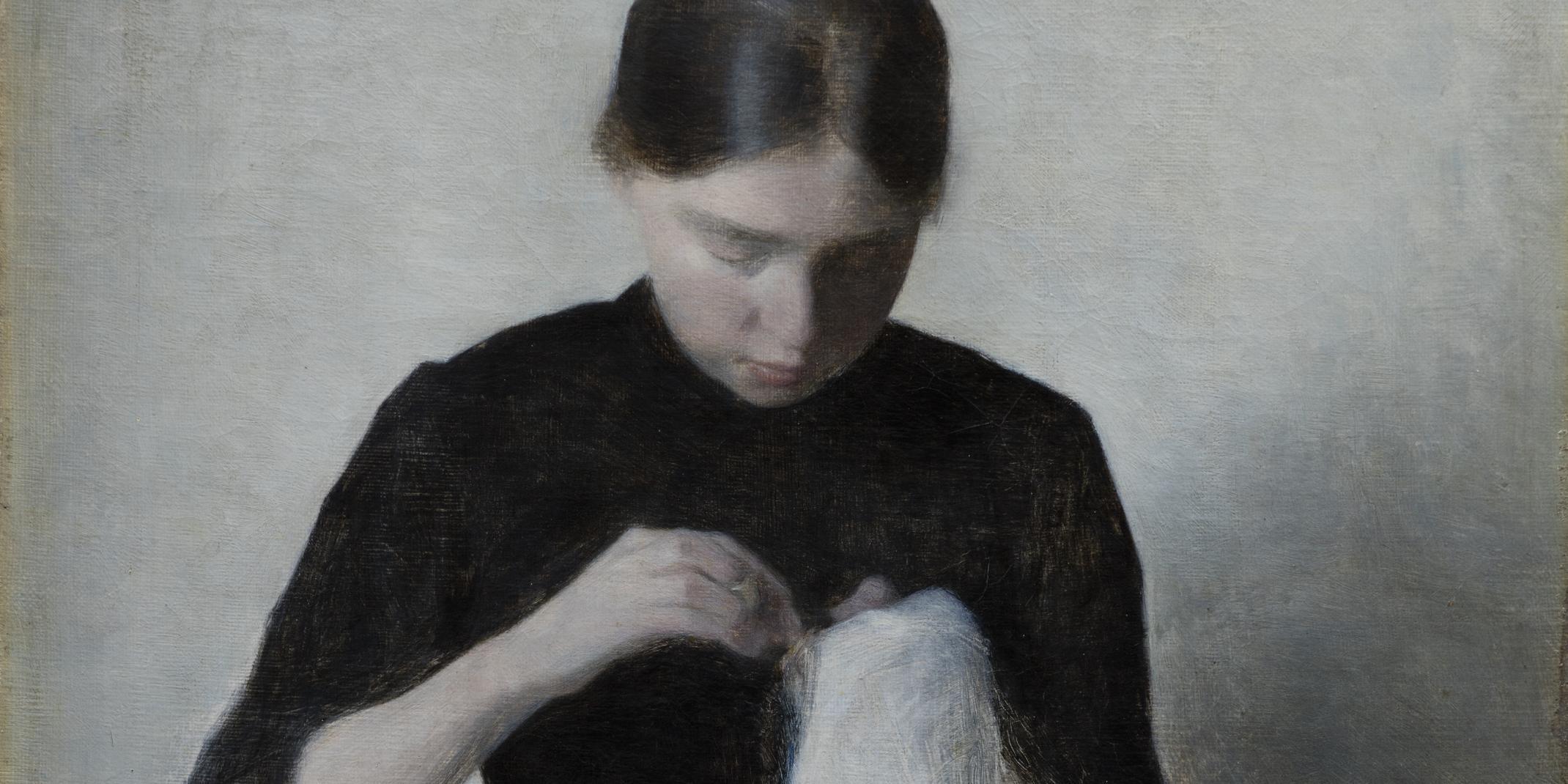 Vilhelm Hammershøi (1864-1916): Ein junges nähendes Mädchen,1887, Öl auf Leinwand, 37 x 35 cm © Ordrupgaard Museum