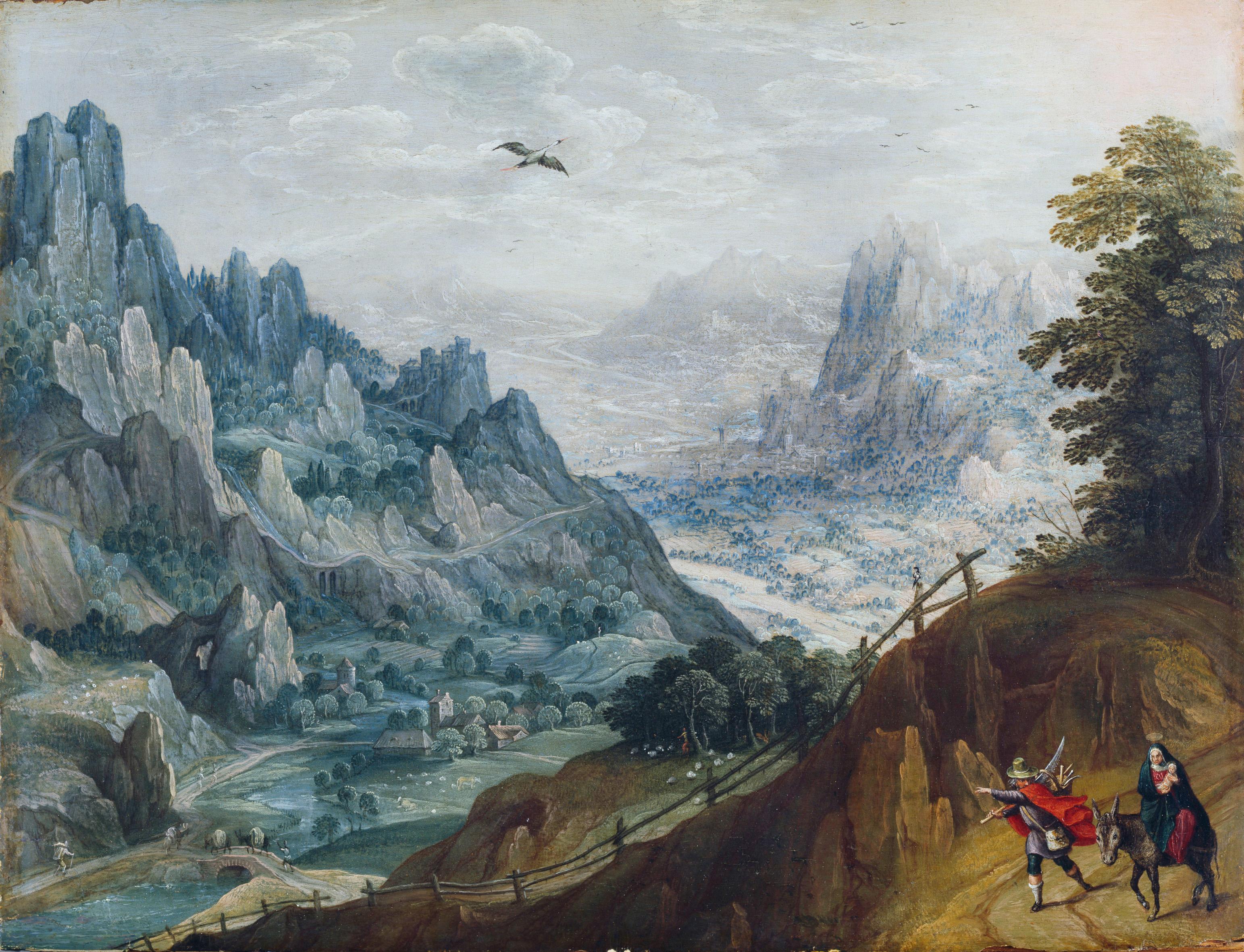 Tobias Verhaecht, Nachfolger (1561 – 1630) Landschaft mit der Flucht nach Ägypten (ohne Datum) Öl auf Eichenholz, 37 x 48 cm © Hamburger Kunsthalle / bpk Photo: Christoph Irrgang